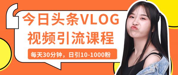 今日头条VLOG视频引流课程:每天30分钟,日引10-1000粉(完结)-律白资源博客