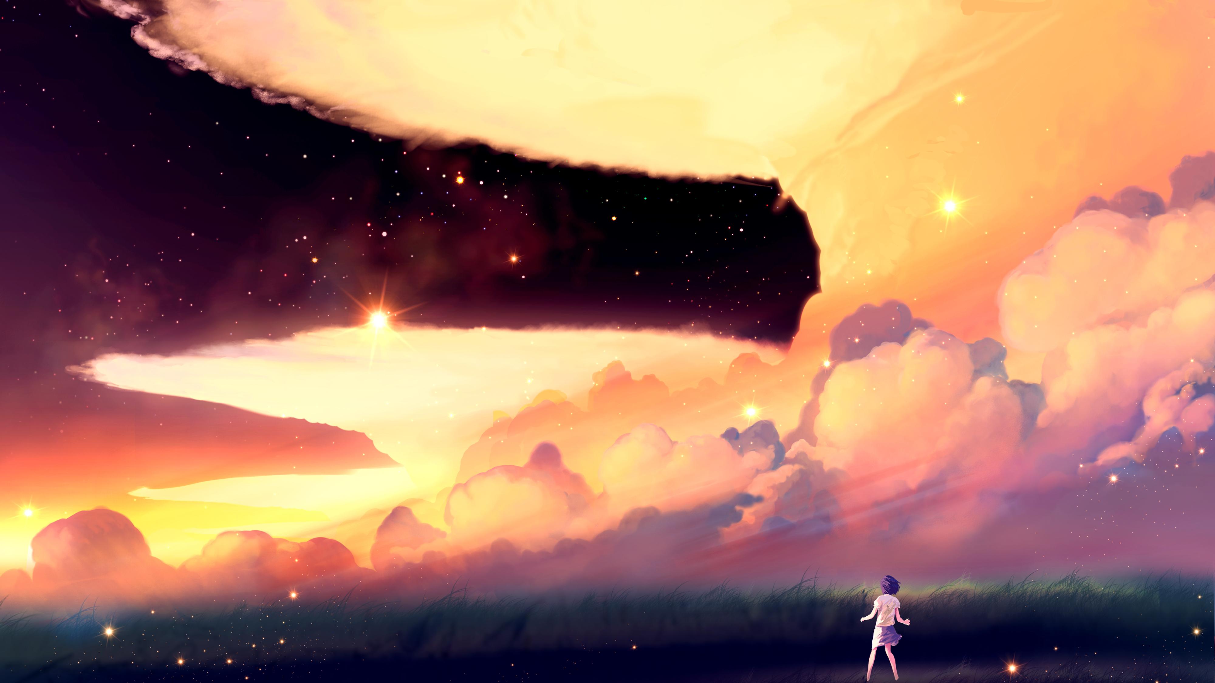 女孩 天空 星星 云彩 4K动漫壁纸插图