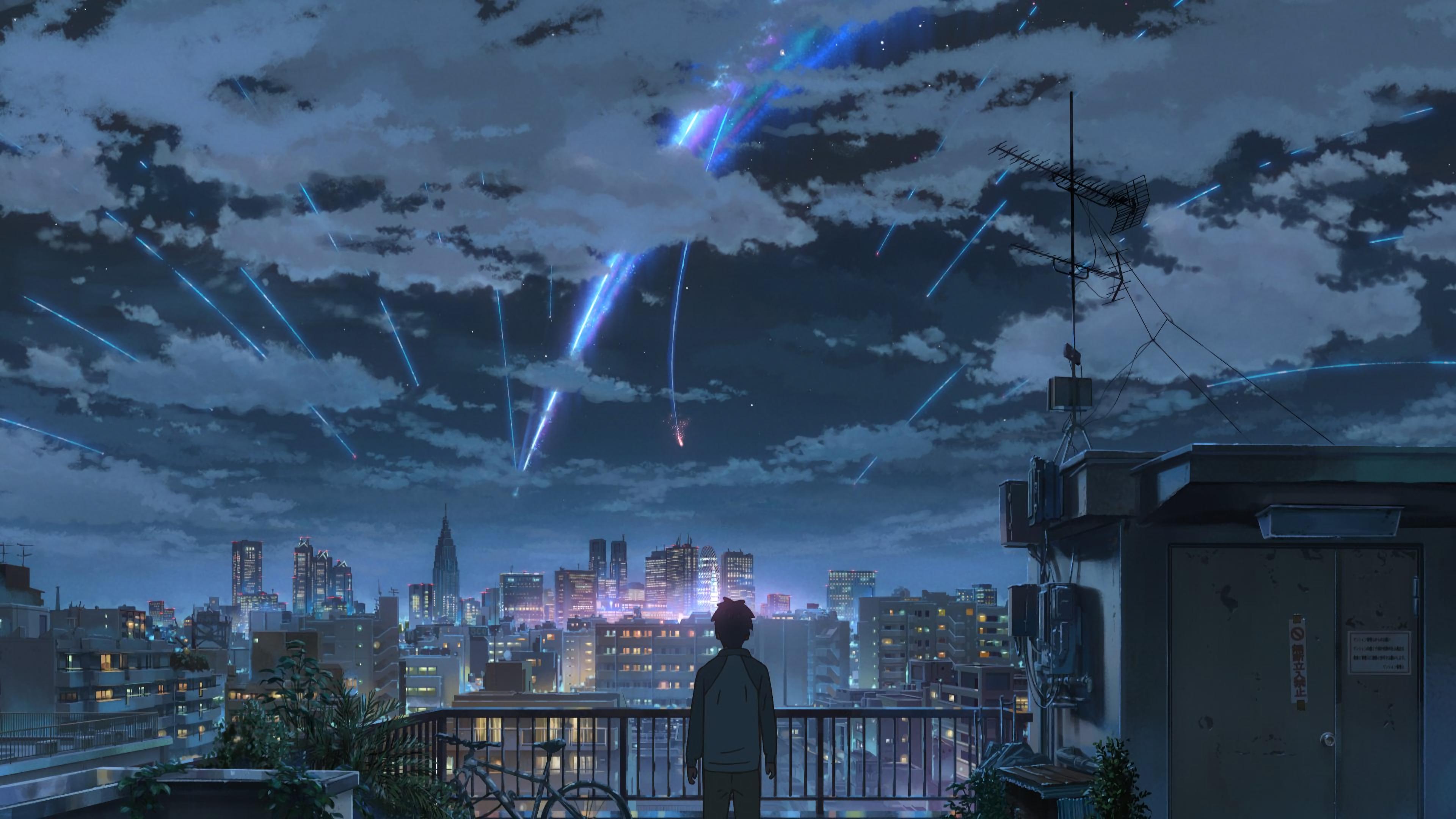 屋顶 天空 城市你的名字4K壁纸插图