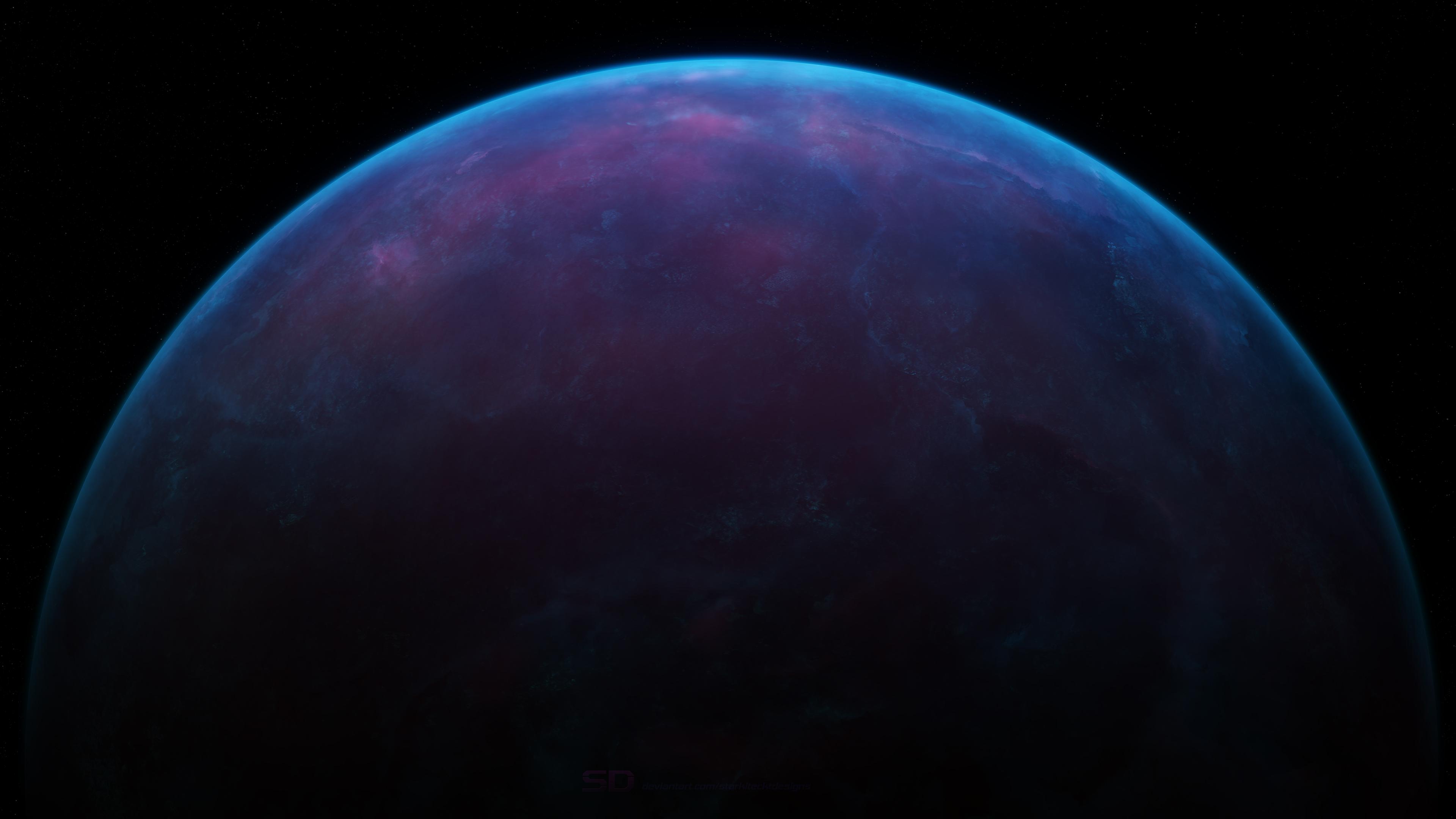 蓝色星球 星空4k壁纸插图