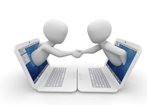 两个人握手3d小人物电脑图片 彼岸图网