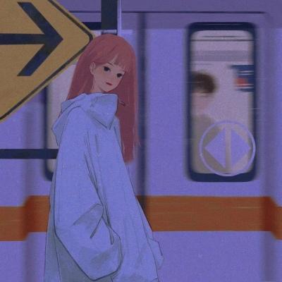 紫色动漫.孤独感,少女头像。