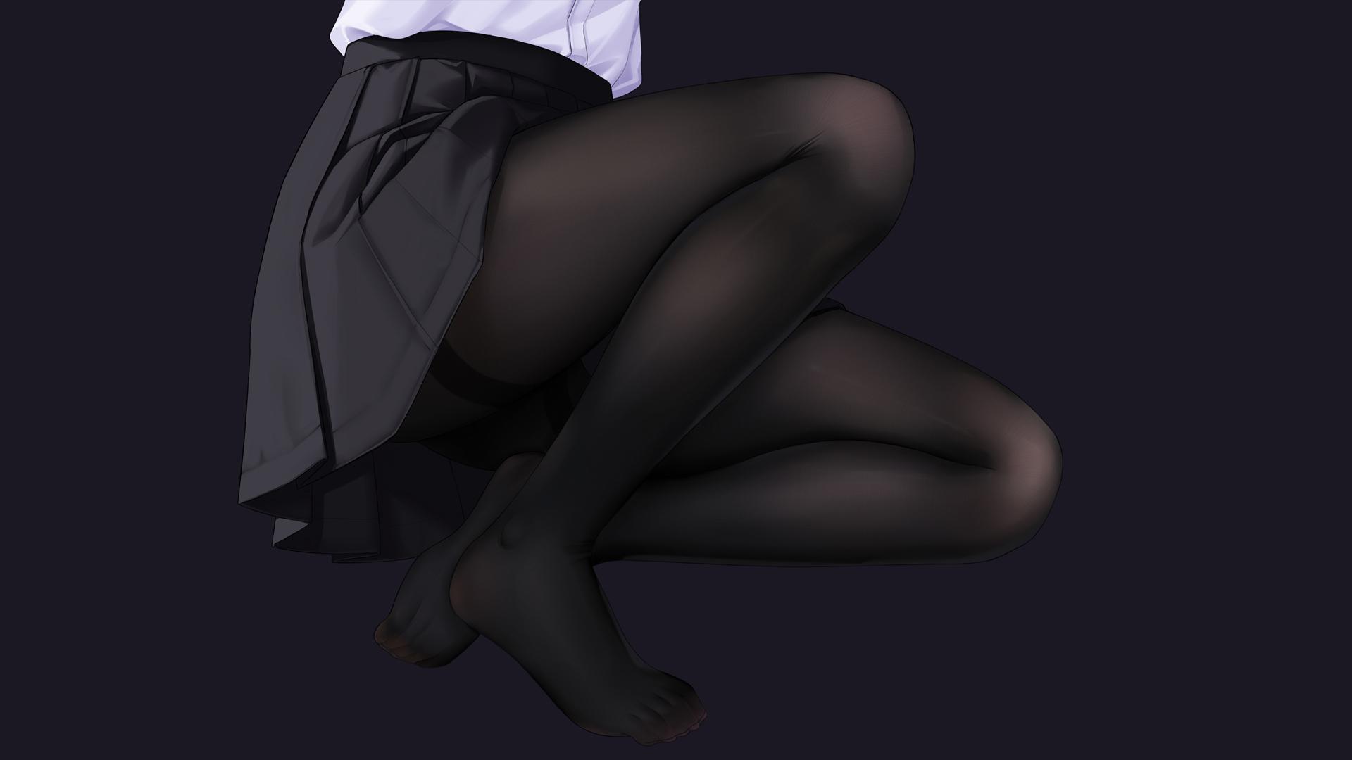 制服迷你短裙 黑色裤袜丝袜动漫美女壁纸(1920×1080)