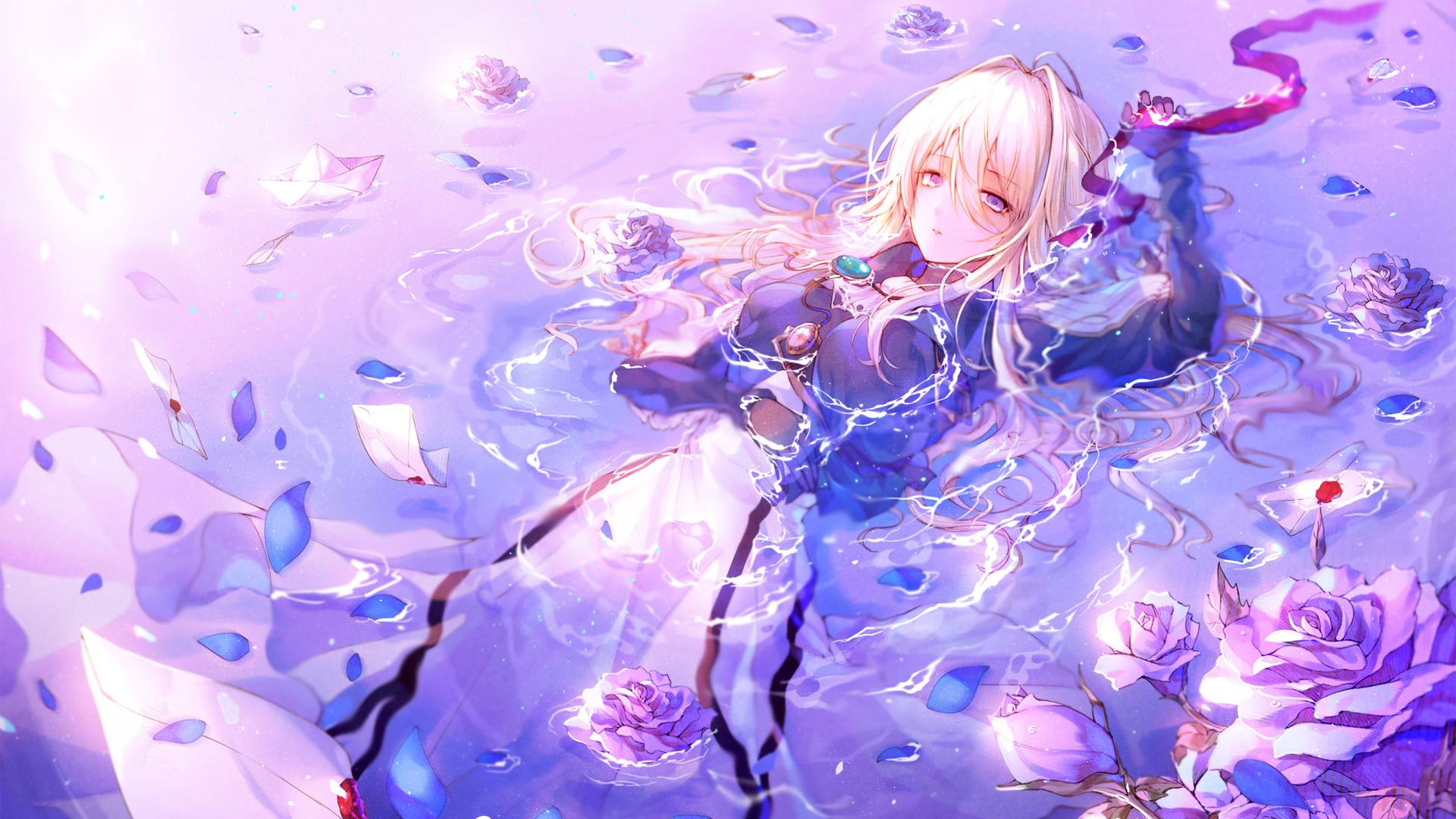 紫罗兰永恒花园 水中 花瓣 薇尔莉特伊芙加登壁纸