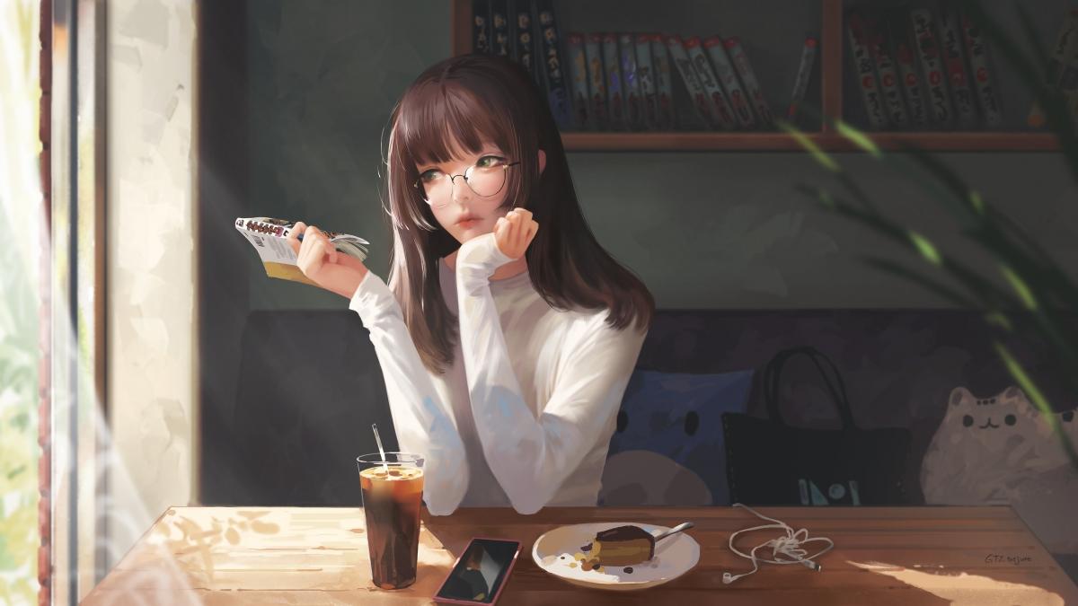 坐在咖啡馆的少女唯美4k高清动漫壁纸