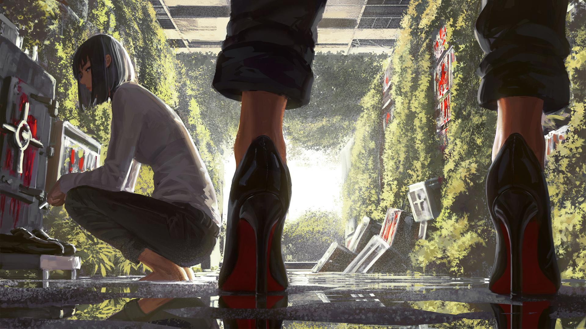 短发女子和穿高跟鞋女子好看二次元动漫壁纸(1920×1080)
