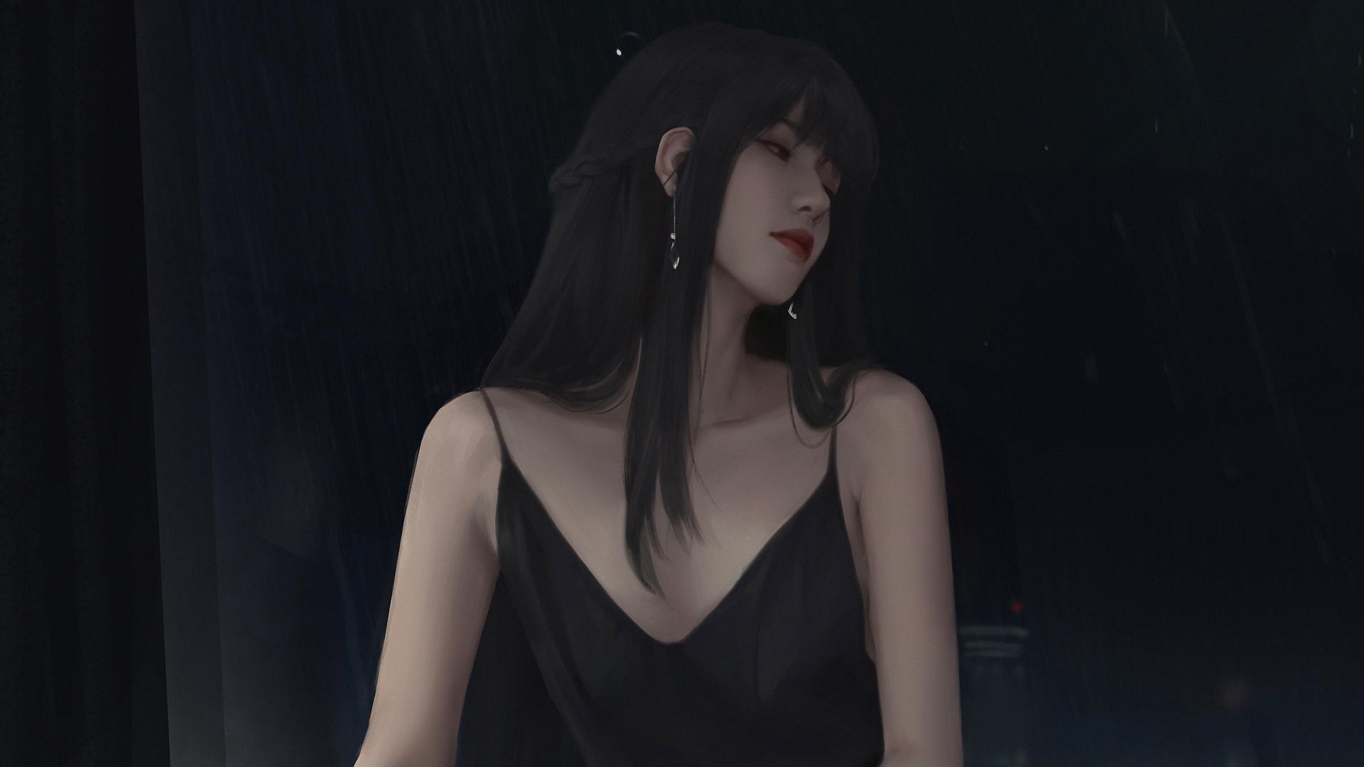 穿黑色吊带裙长发动漫美女高清壁纸(1920×1080)