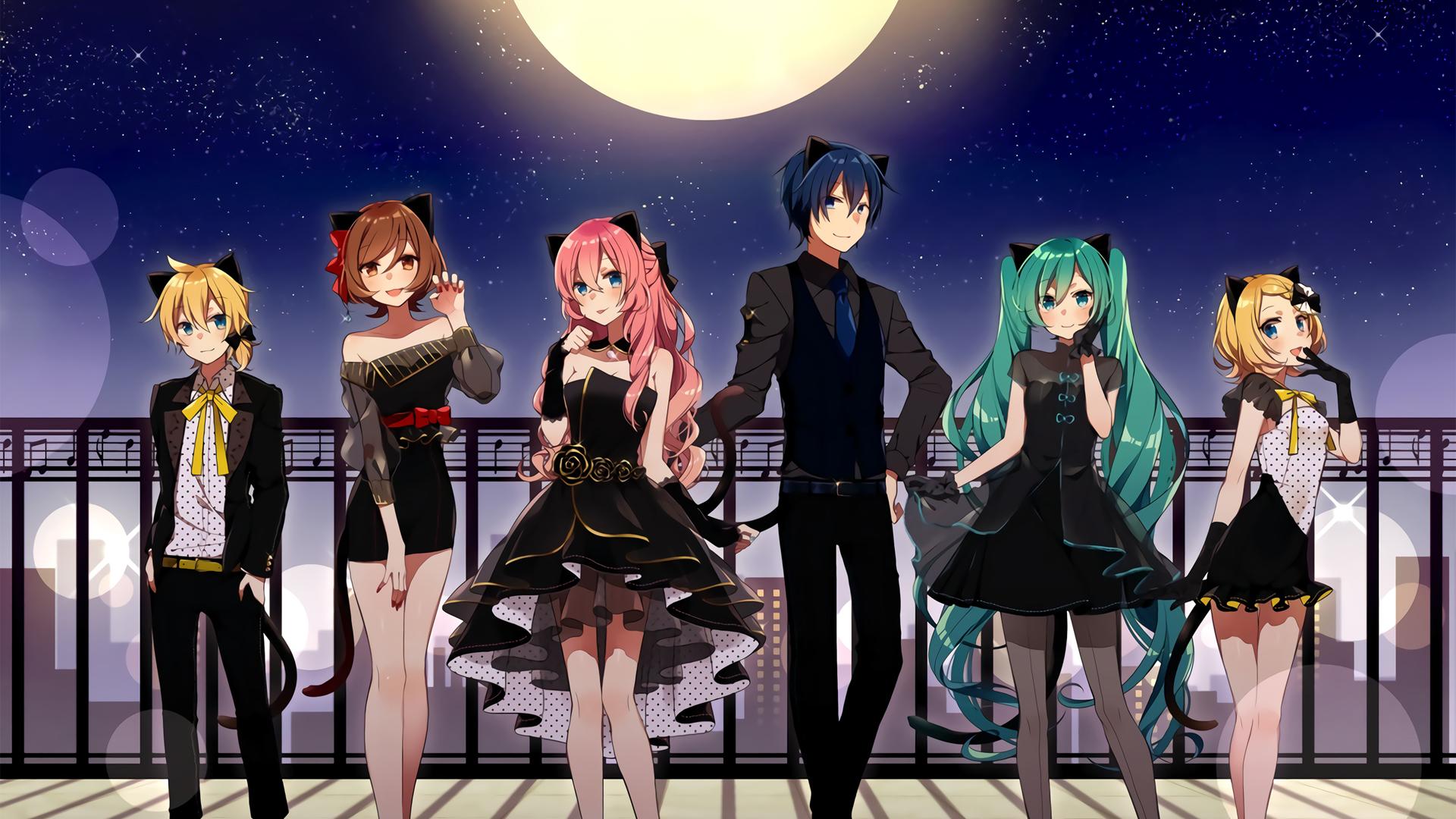 初音未来 鏡音 巡音流歌MEIKOKAITO 星空 月亮 动漫壁纸