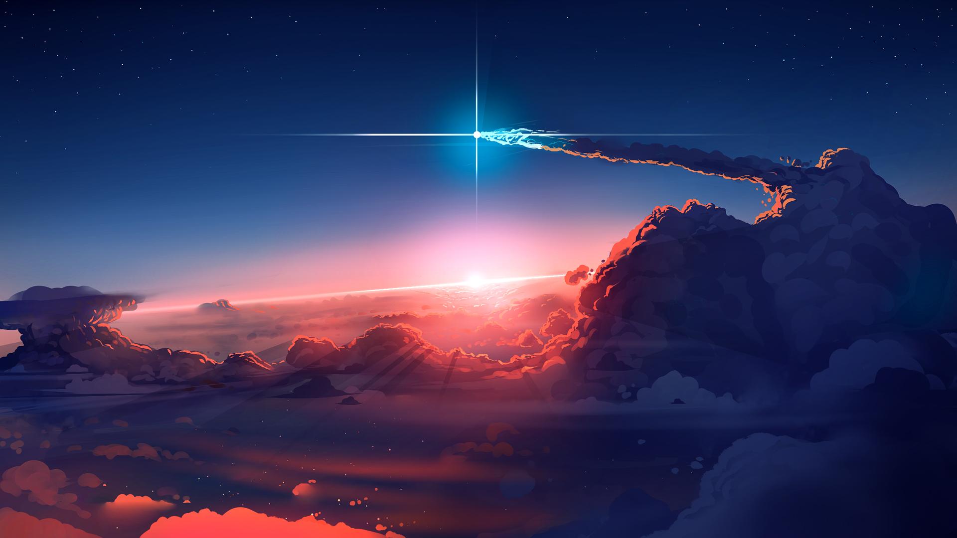 云 星光 天空 星星 2k高清动漫风景壁纸