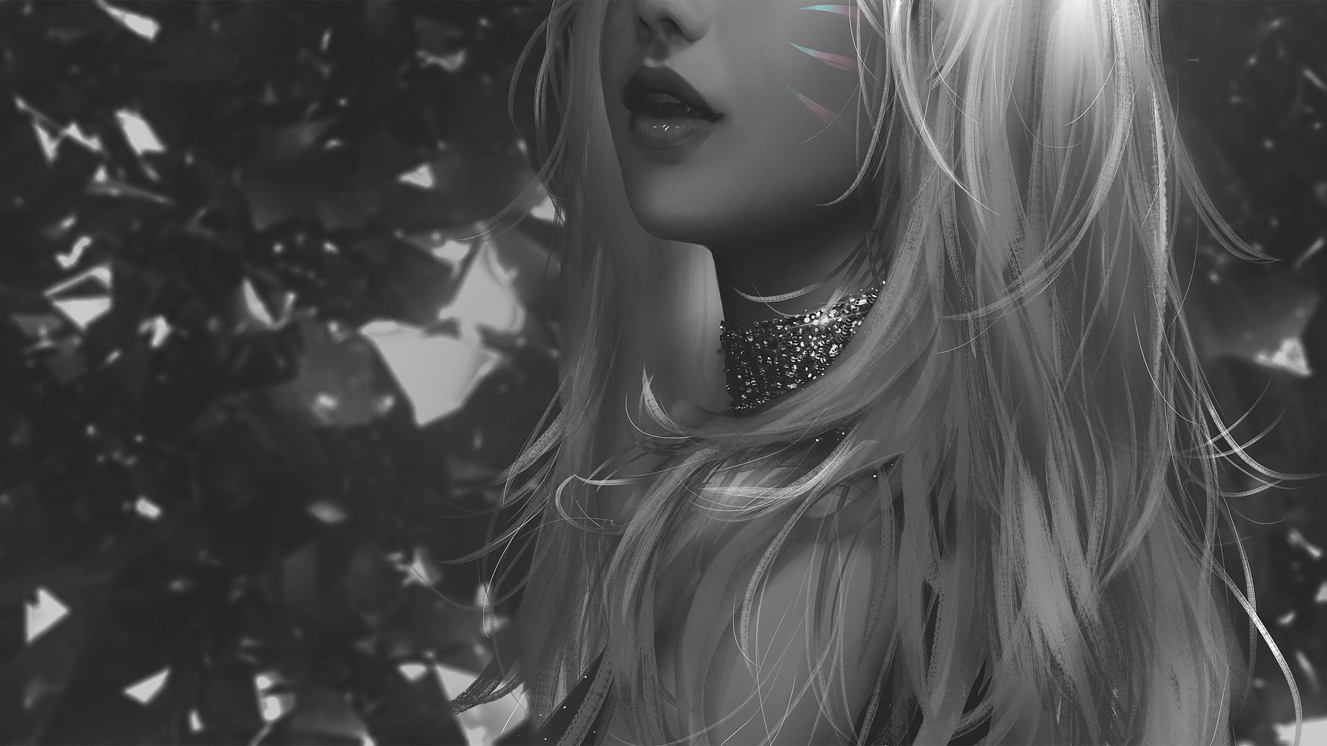 长发女孩 黑白人物厚涂画风动漫壁纸(1920×1080)