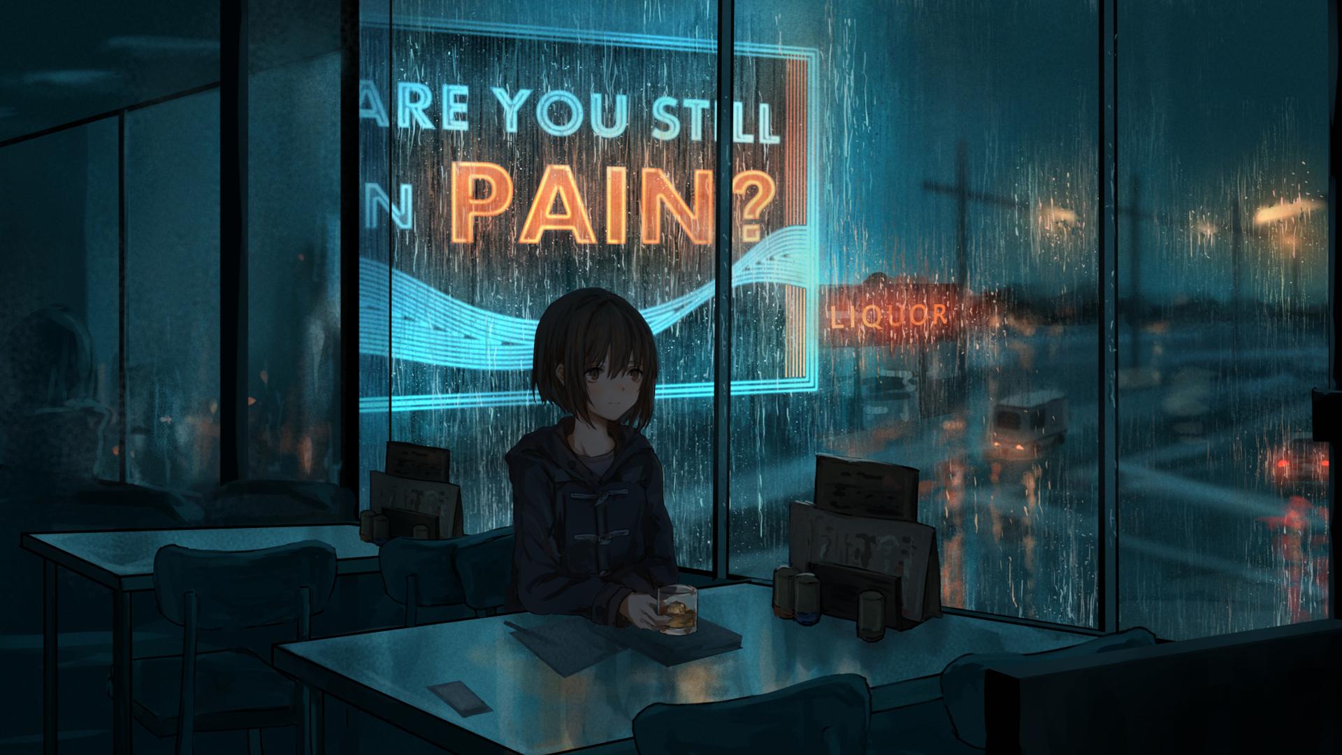 雨天 夜景 玻璃窗 女孩 桌子 动漫壁纸