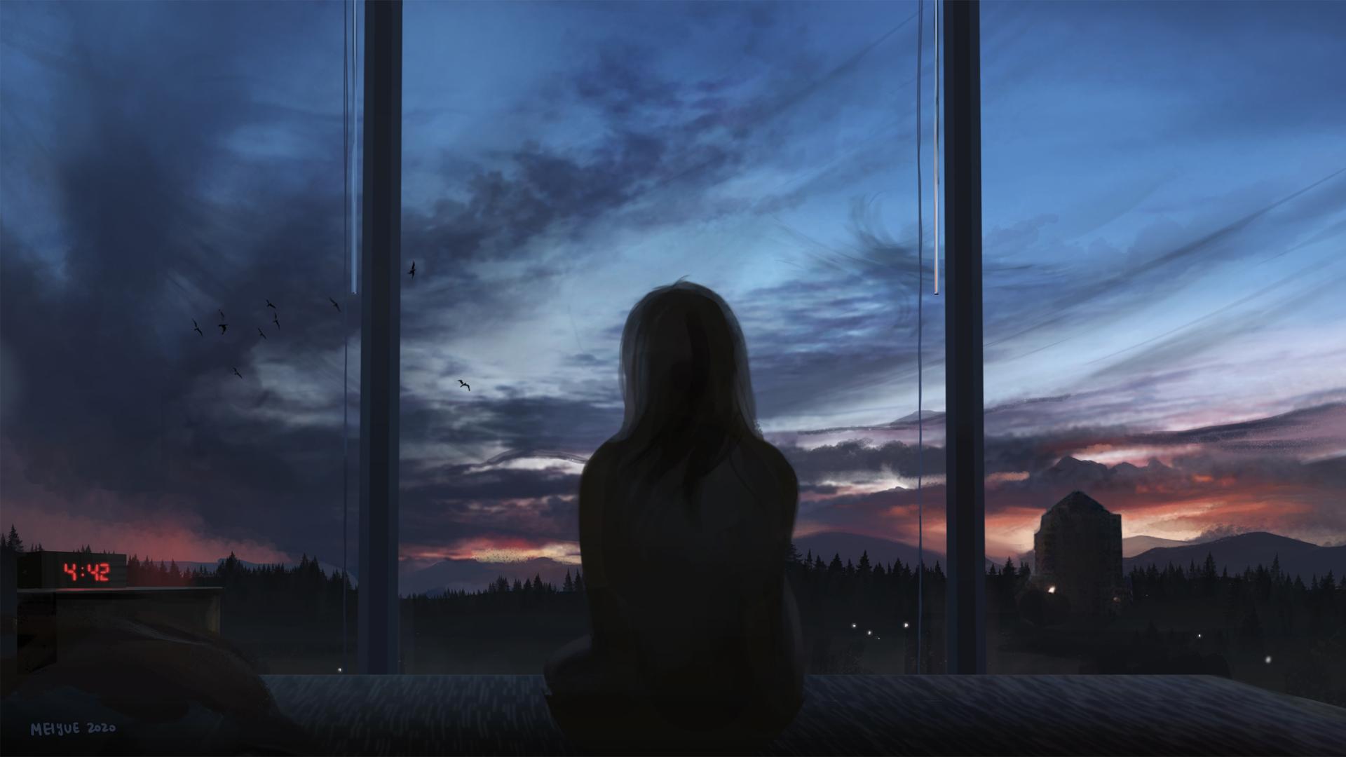 天还没亮 凌晨 女孩坐着背影动漫壁纸(1920×1080)