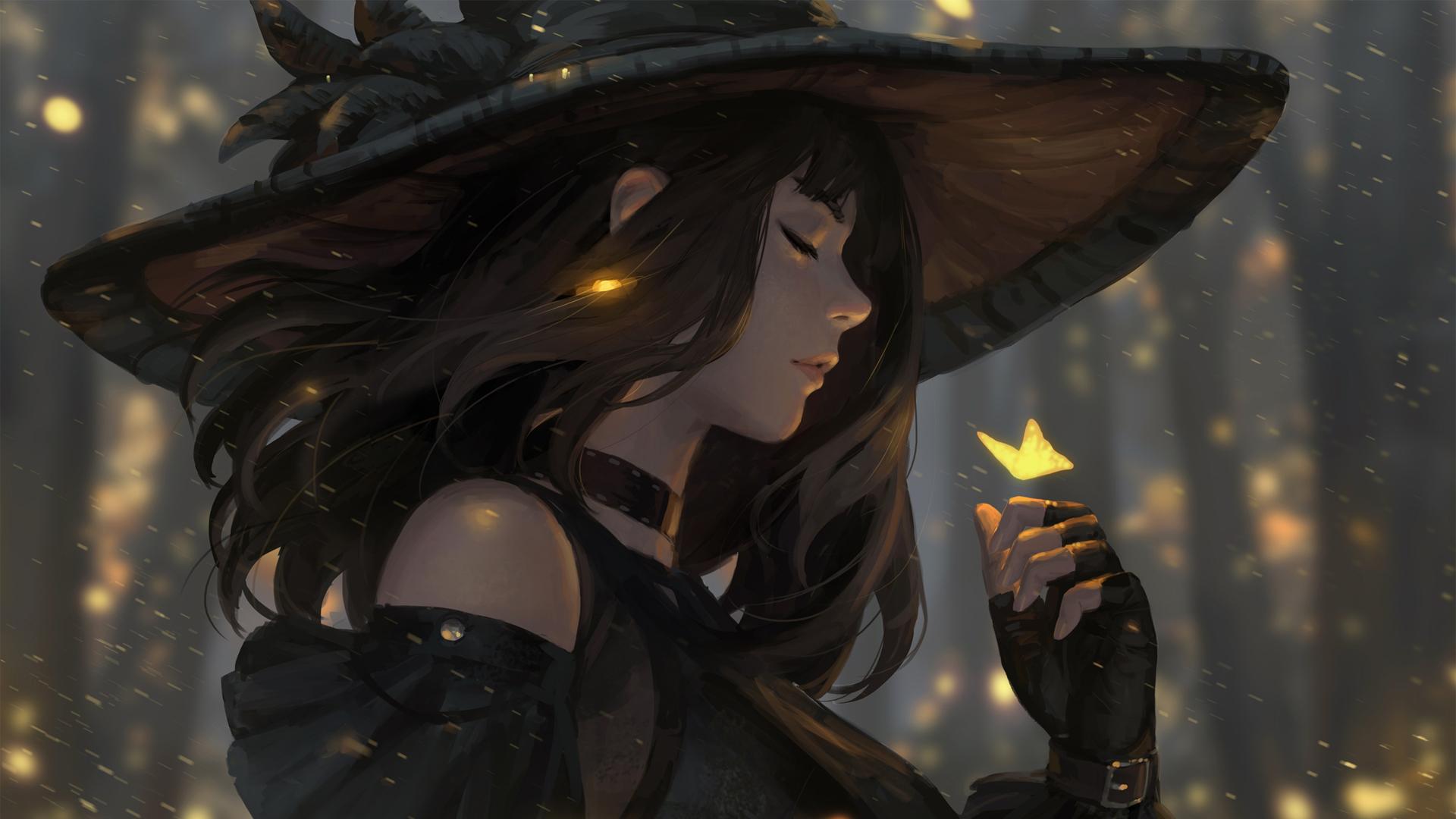 女孩闭眼 帽子 蝴蝶 唯美动漫女生高清壁纸