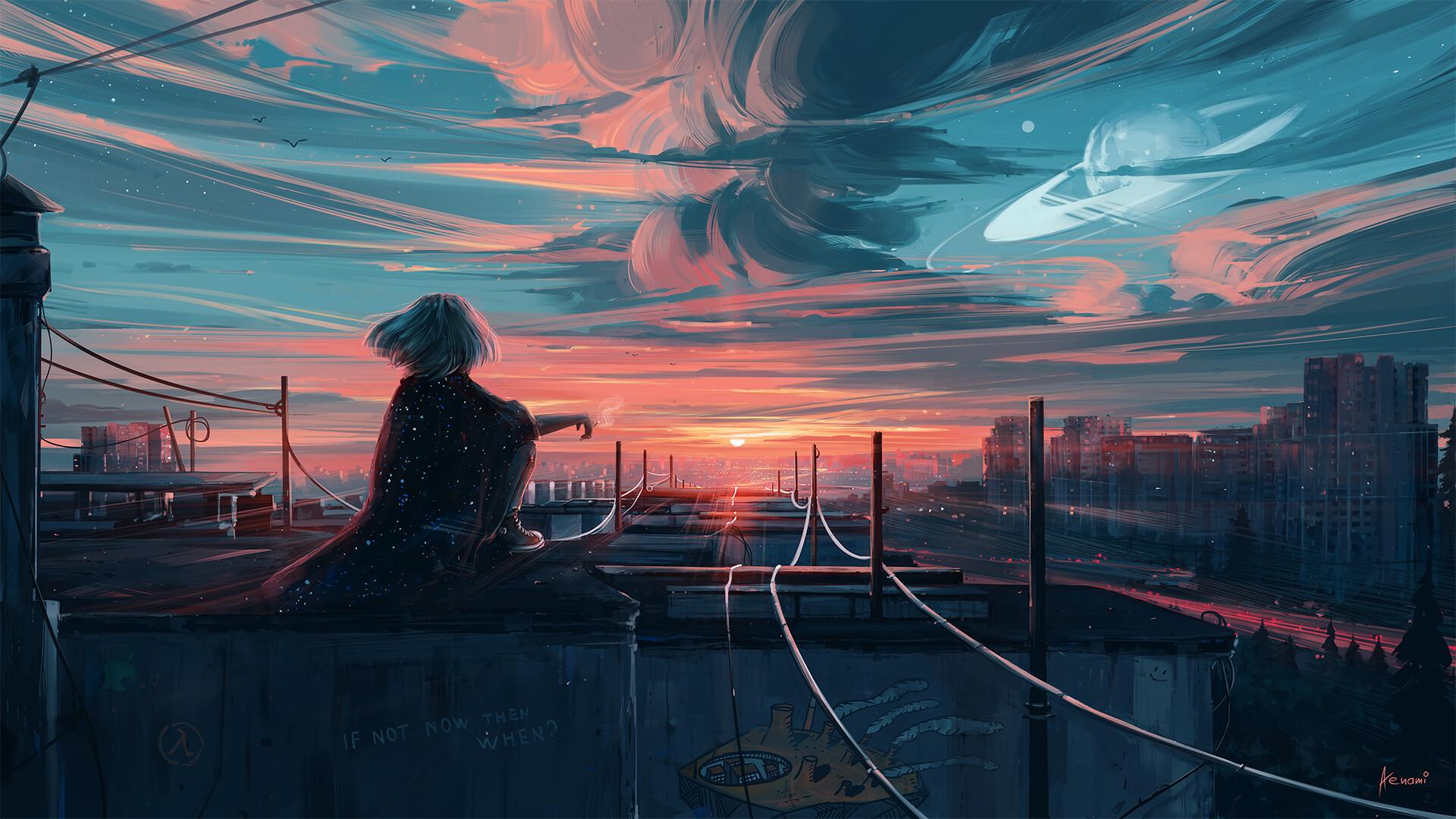 夕阳 少女 等待的女孩 城市 天空 动漫壁纸