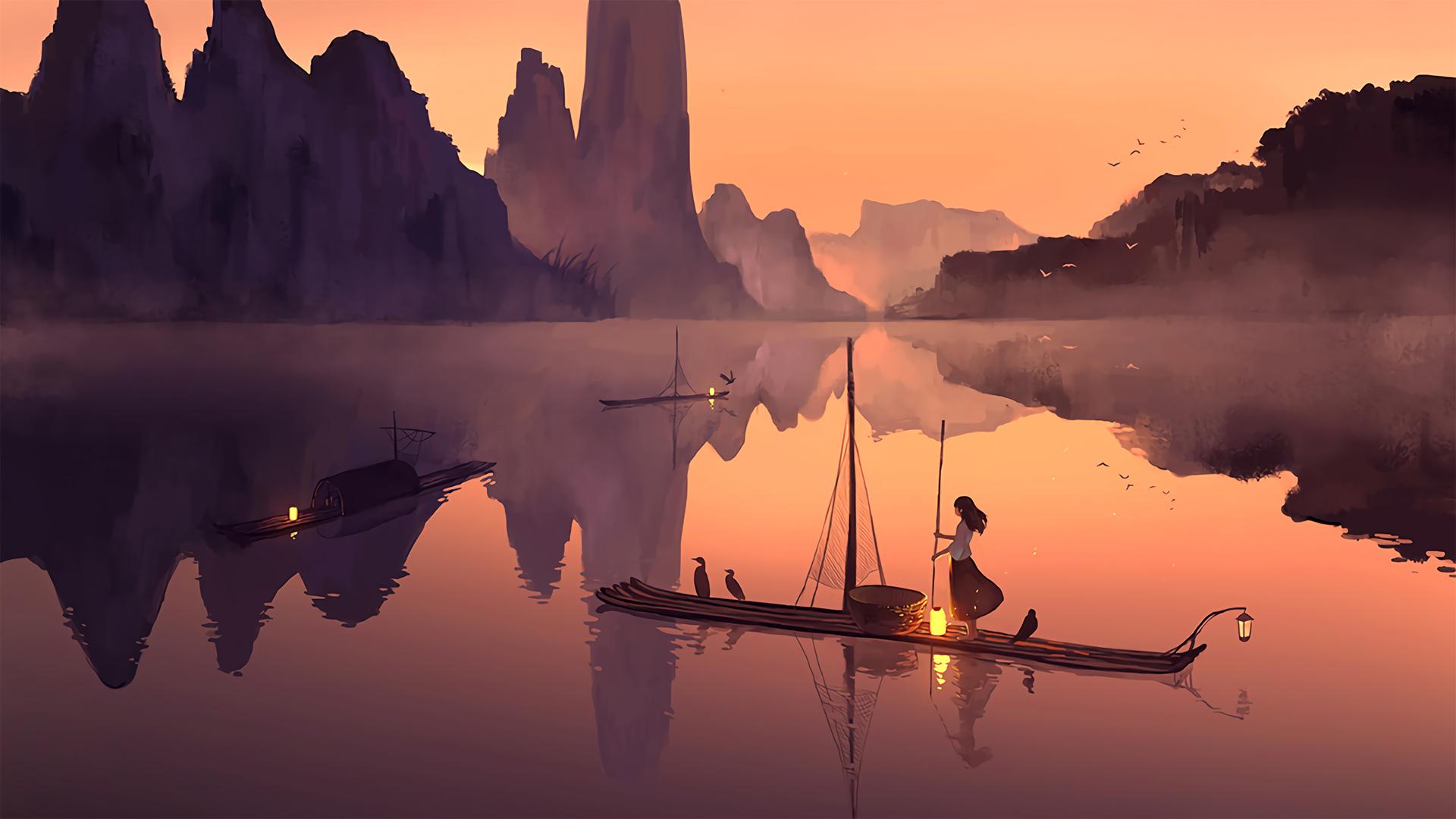 高清版 晚上 竹排 女孩 渔船 灯 好看二次元动漫壁纸(1920×1080)