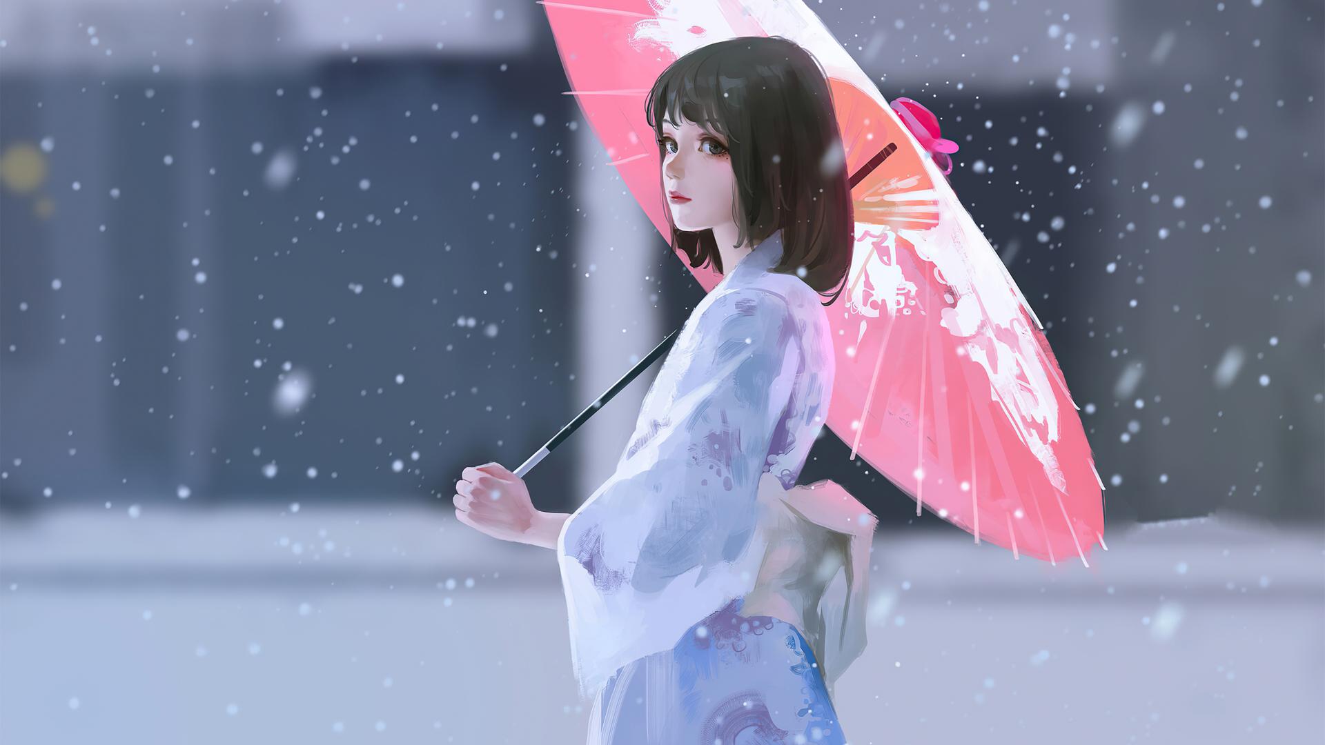 雨雪天 撑伞的女孩和服动漫壁纸