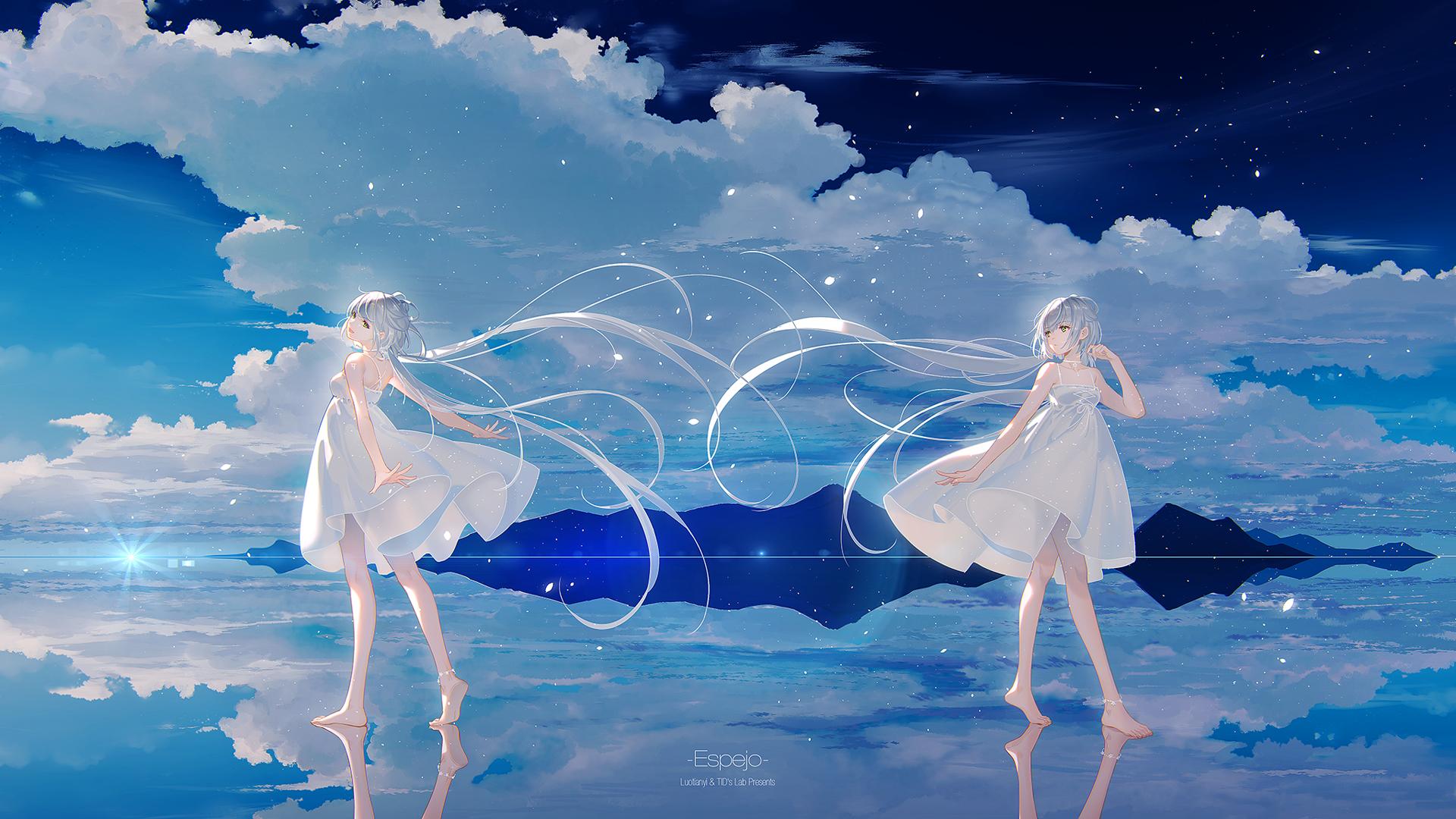 洛天依 白色裙子 赤脚 天空 云 唯美好看动漫壁纸