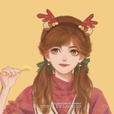 可爱红色系新年迪士尼公主头像 /闺蜜可用