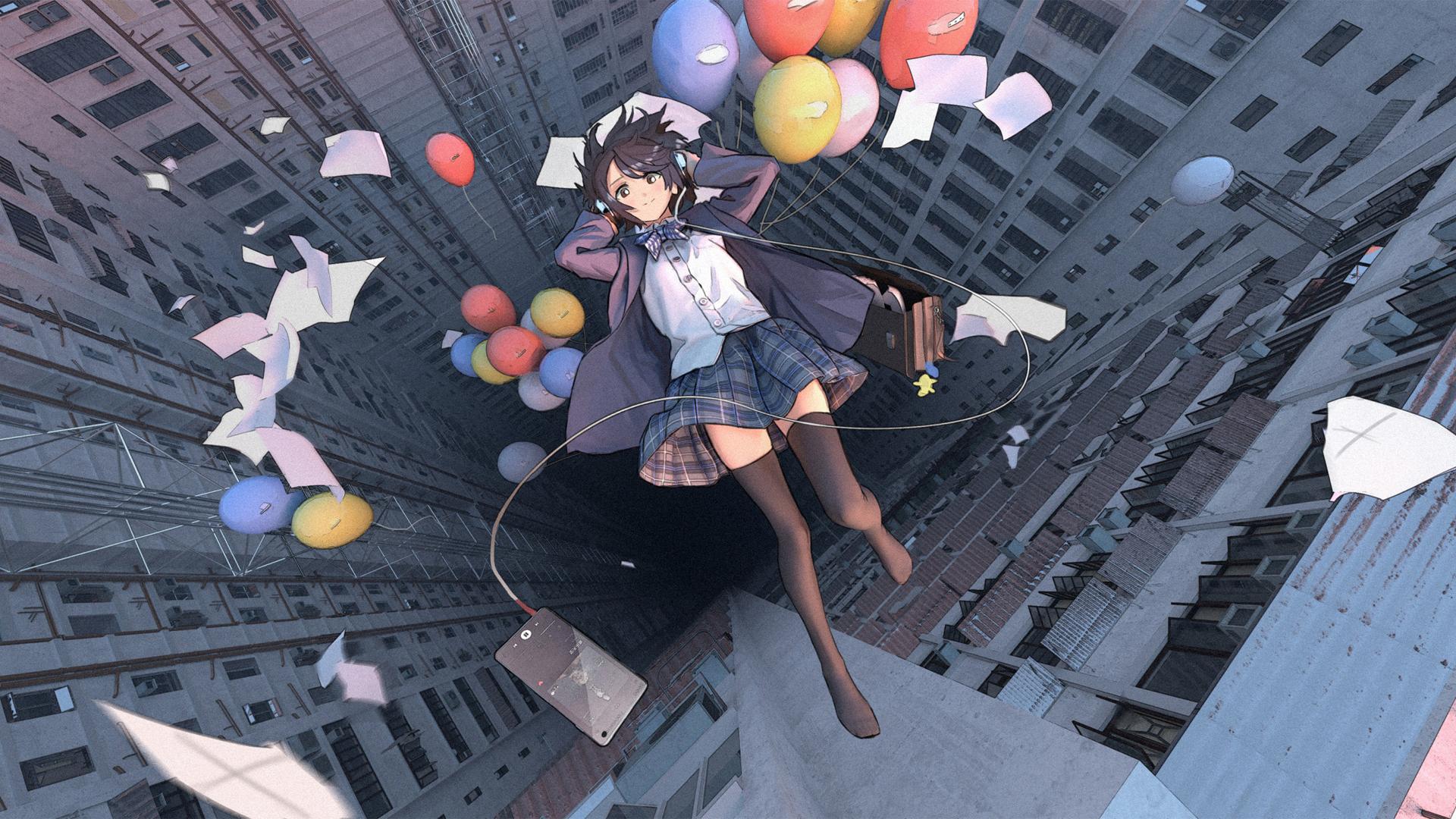女子高中生校服制服 高楼 气球 手机 音乐 浮起来 动漫壁纸(1920×1080)