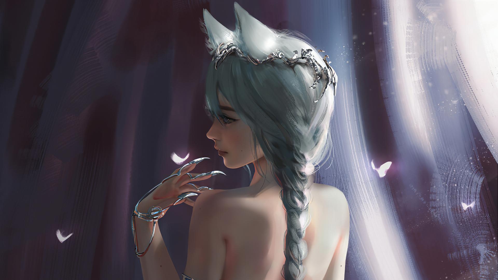 少女兽耳 长辫子唯美背部动漫高清壁纸