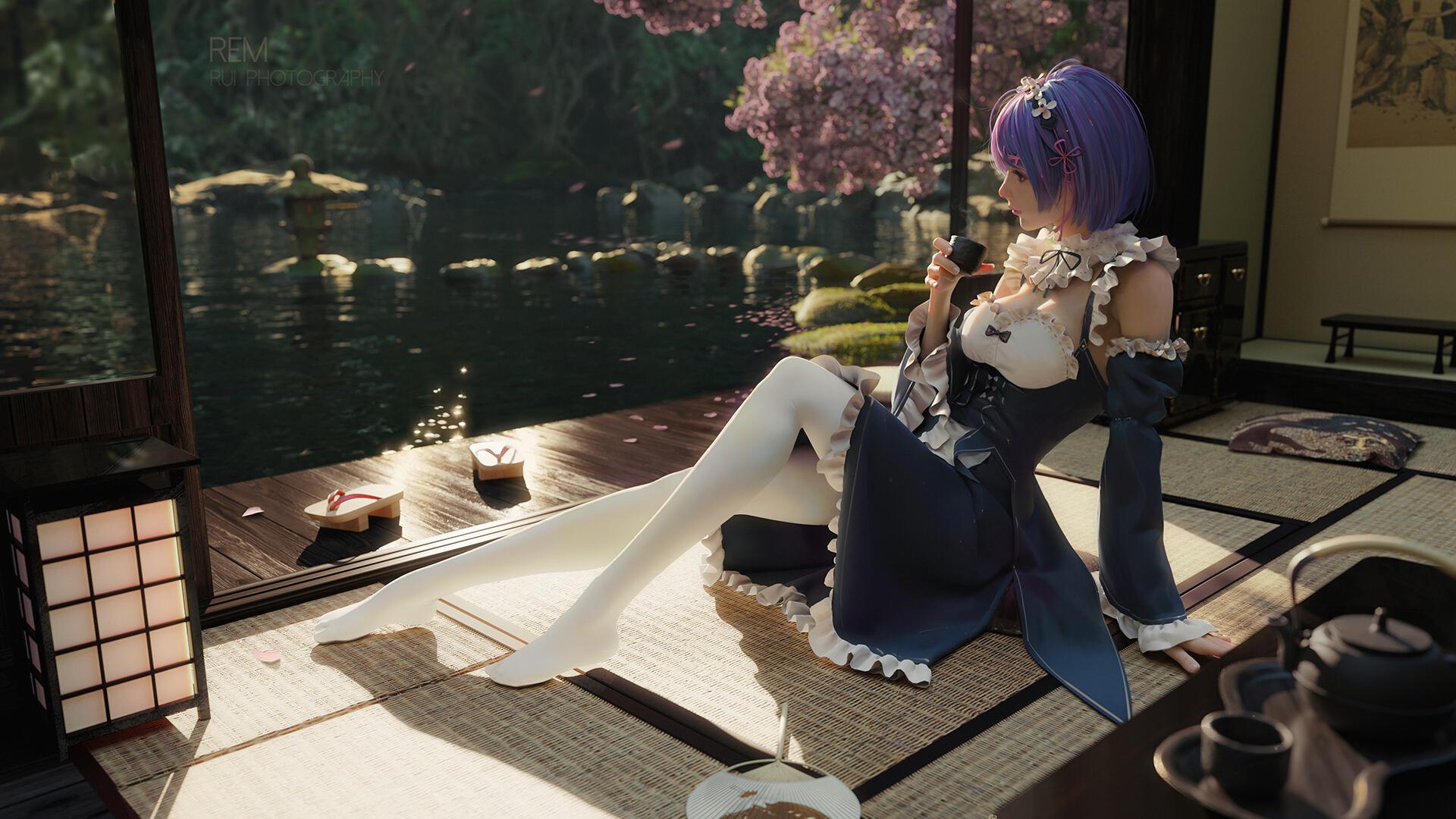 庭院 湖 女孩 裙子 白色长裤袜 草席 喝茶 动漫壁纸