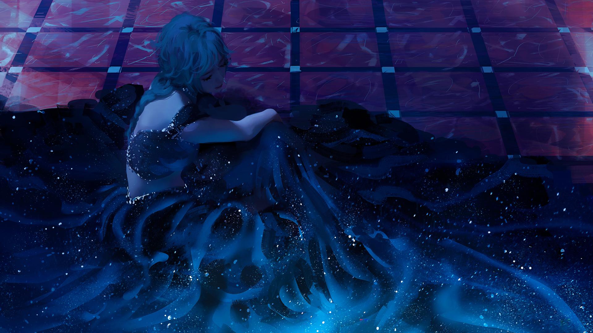 坐在地板的公主 唯美长裙 厚涂画风 高清壁纸