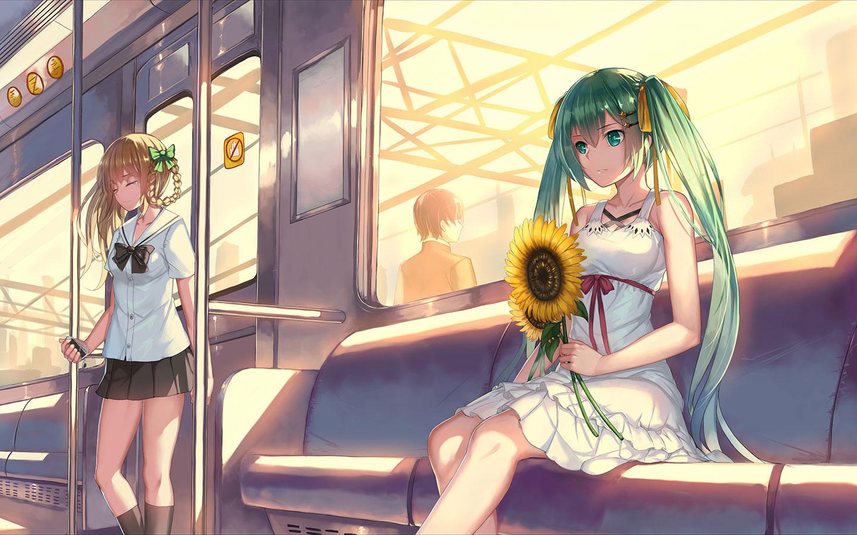 初音未来miku大屏高清1440×900桌面壁纸-初音未来电车手持向日葵壁纸