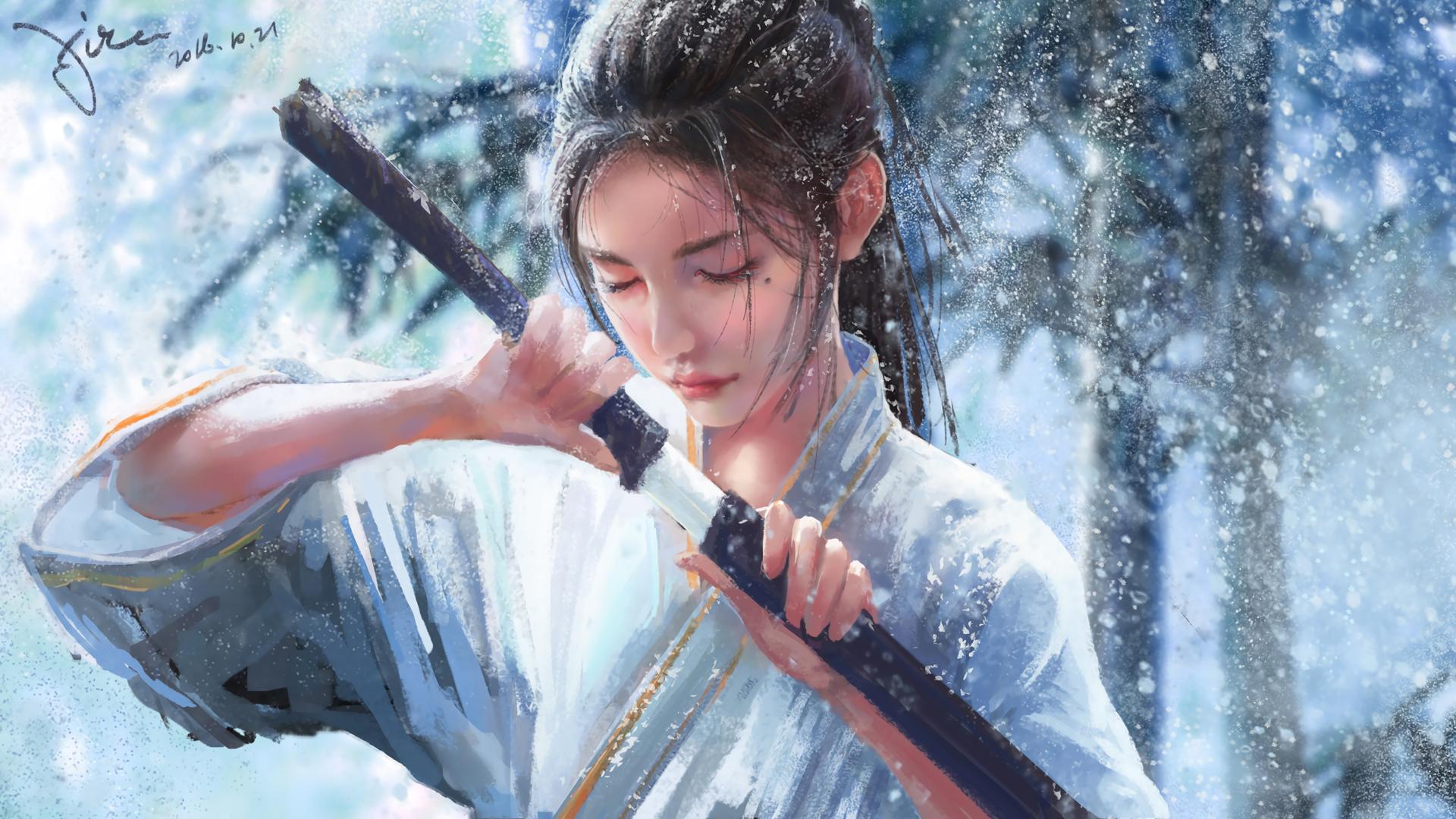 雪竹 雪景 女生 黑发 单马尾 宝剑 2k动漫壁纸