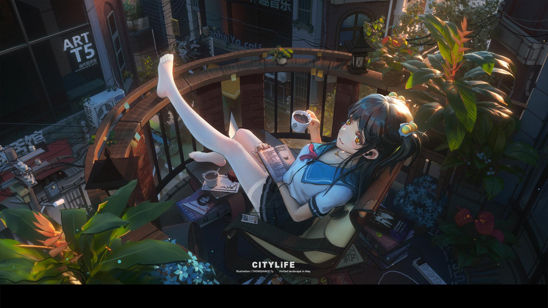 城市 阳台 女孩子 水手服 白裤袜 看书 咖啡 2k动漫壁纸