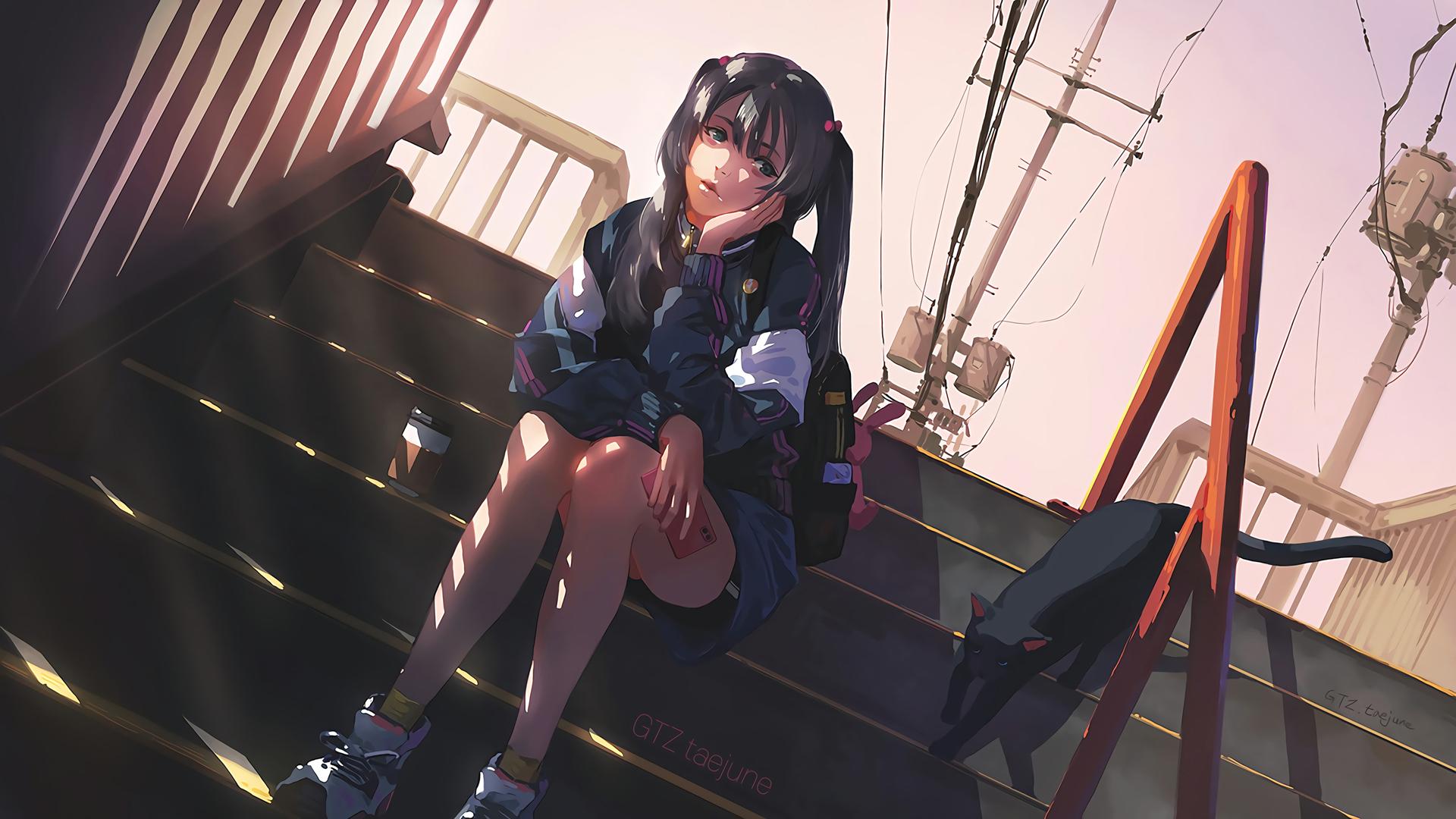 坐在楼梯上的动漫女孩壁纸