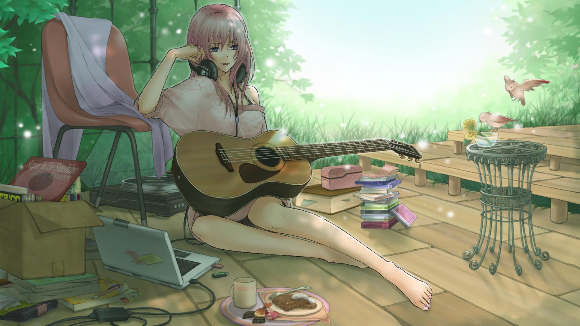 爱音乐的动漫吉他美女唯美图片桌面壁纸高清下载 第一辑