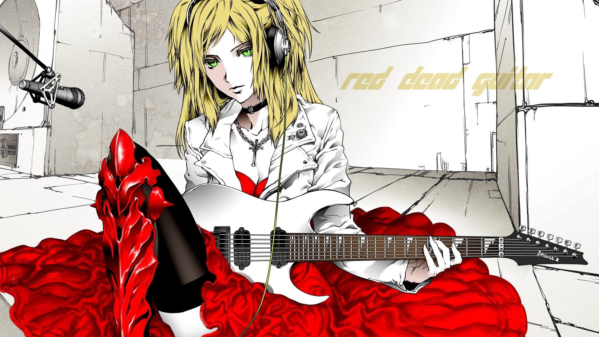爱音乐的可爱动漫吉他美女图片桌面壁纸高清下载 第二辑