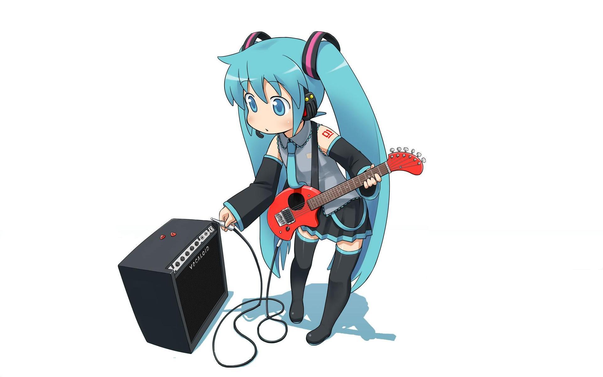 可爱动漫吉他美女卡通女生高清图片桌面壁纸下载第三辑