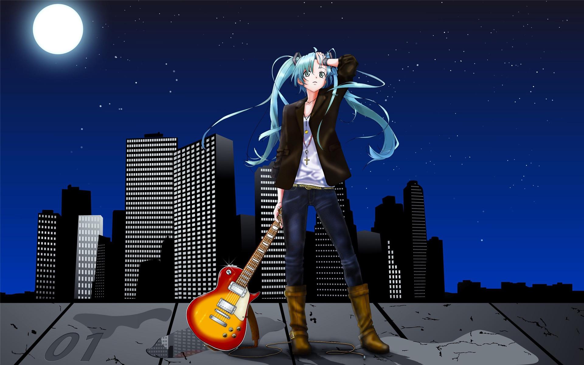 可爱的动漫吉他美女卡通少女图片桌面壁纸高清下载