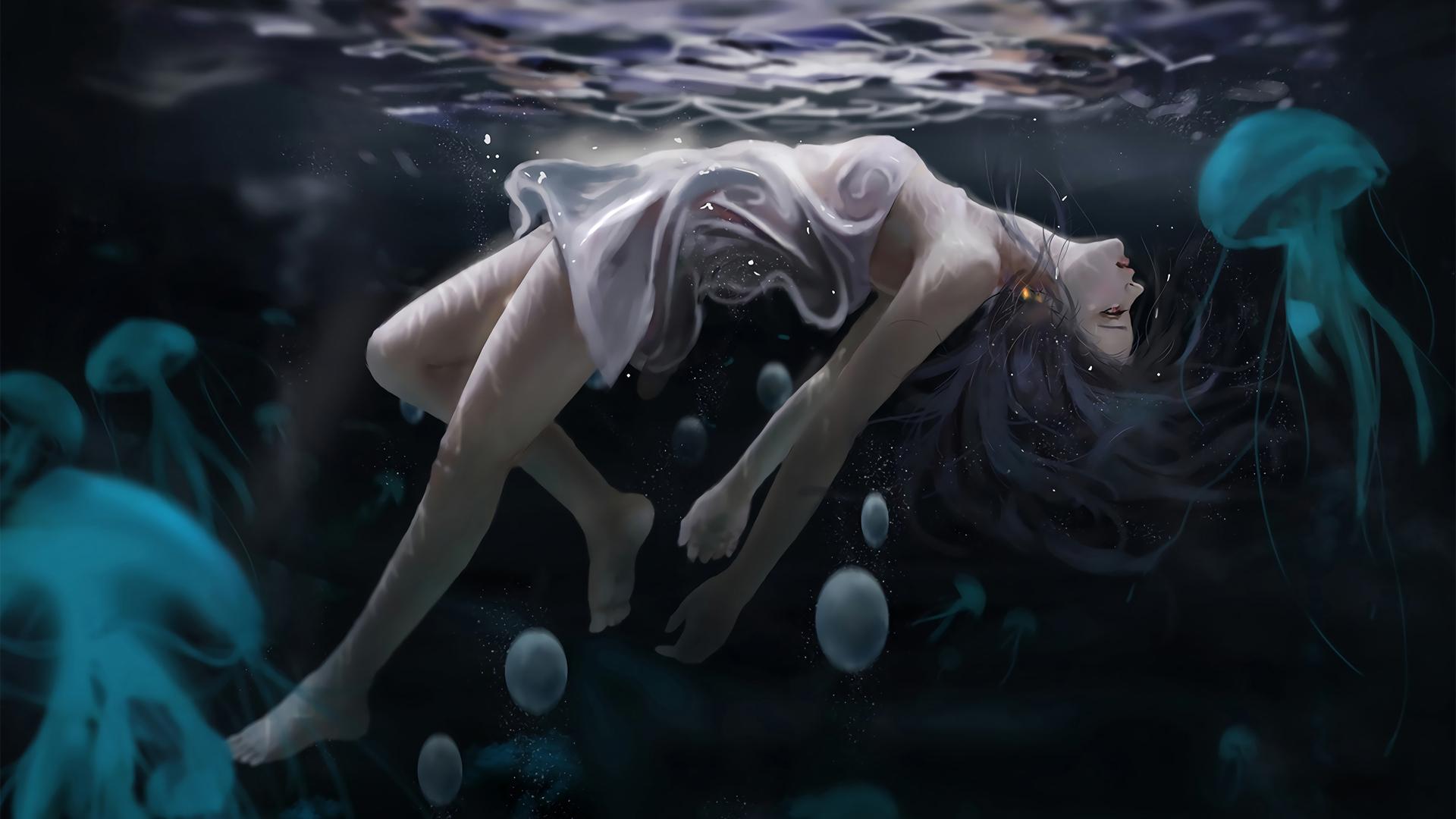 女子美女 水下 海底 水母 唯美动漫壁纸