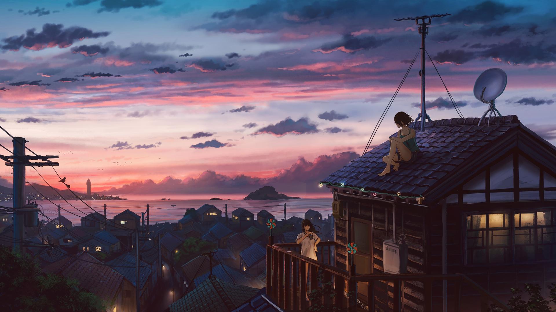 海边的小镇 坐在屋顶的女孩 唯美动漫风景壁纸