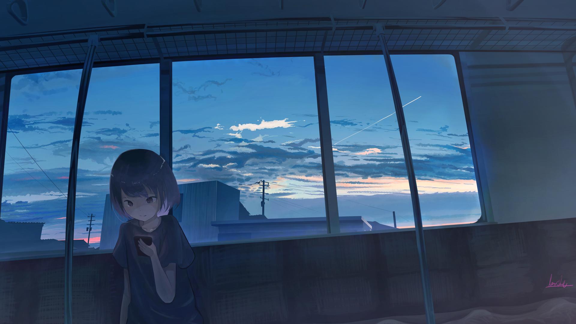 女孩子 回家 手机 晚霞 夕阳 动漫壁纸
