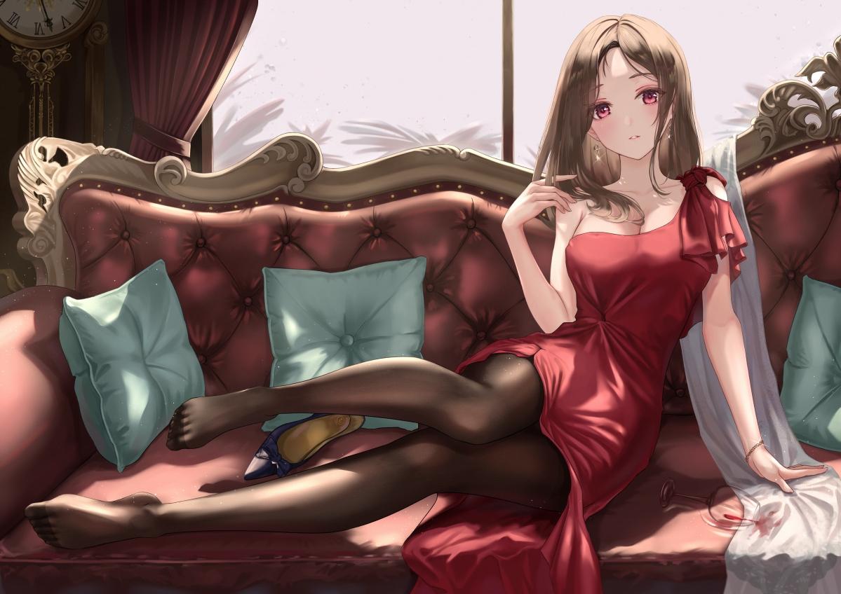 长发可爱女子 红色裙子 女孩子 黑裤袜 美腿 沙发 4k高清动漫壁纸_4K动漫图片