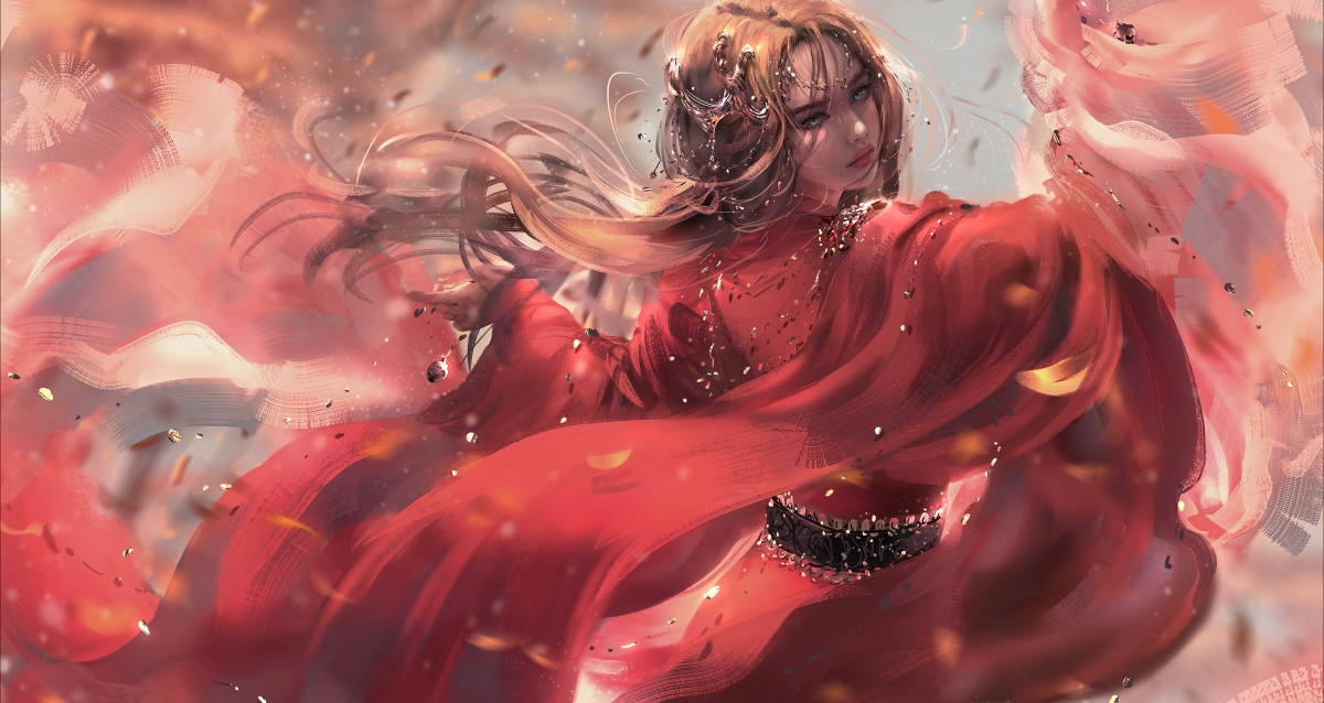 穿红色裙子姑娘 飘起长发 回眸 4k动漫壁纸_4K动漫图片