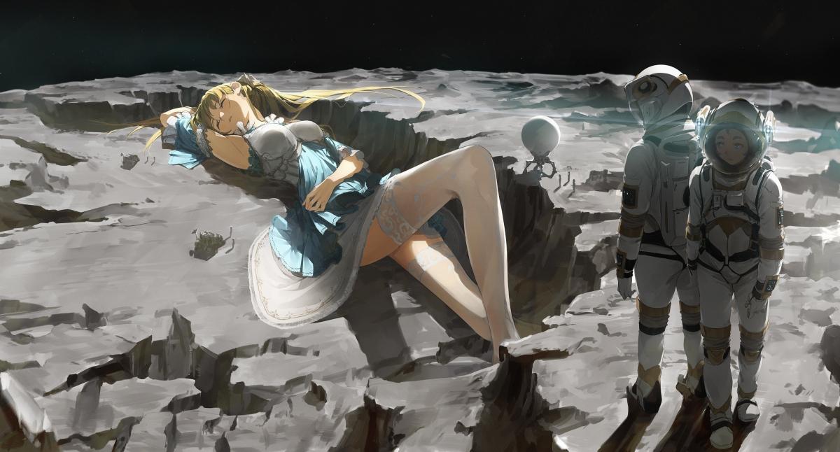 宇宙 卫星 少女 妹子 美腿 裤袜 太空宇航员4k动漫壁纸_4K动漫图片