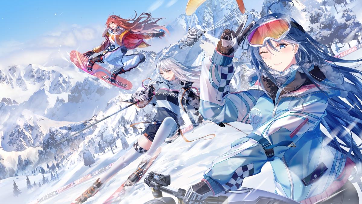 雪山 美少女 滑雪 雪板 4k动漫壁纸_4K动漫图片