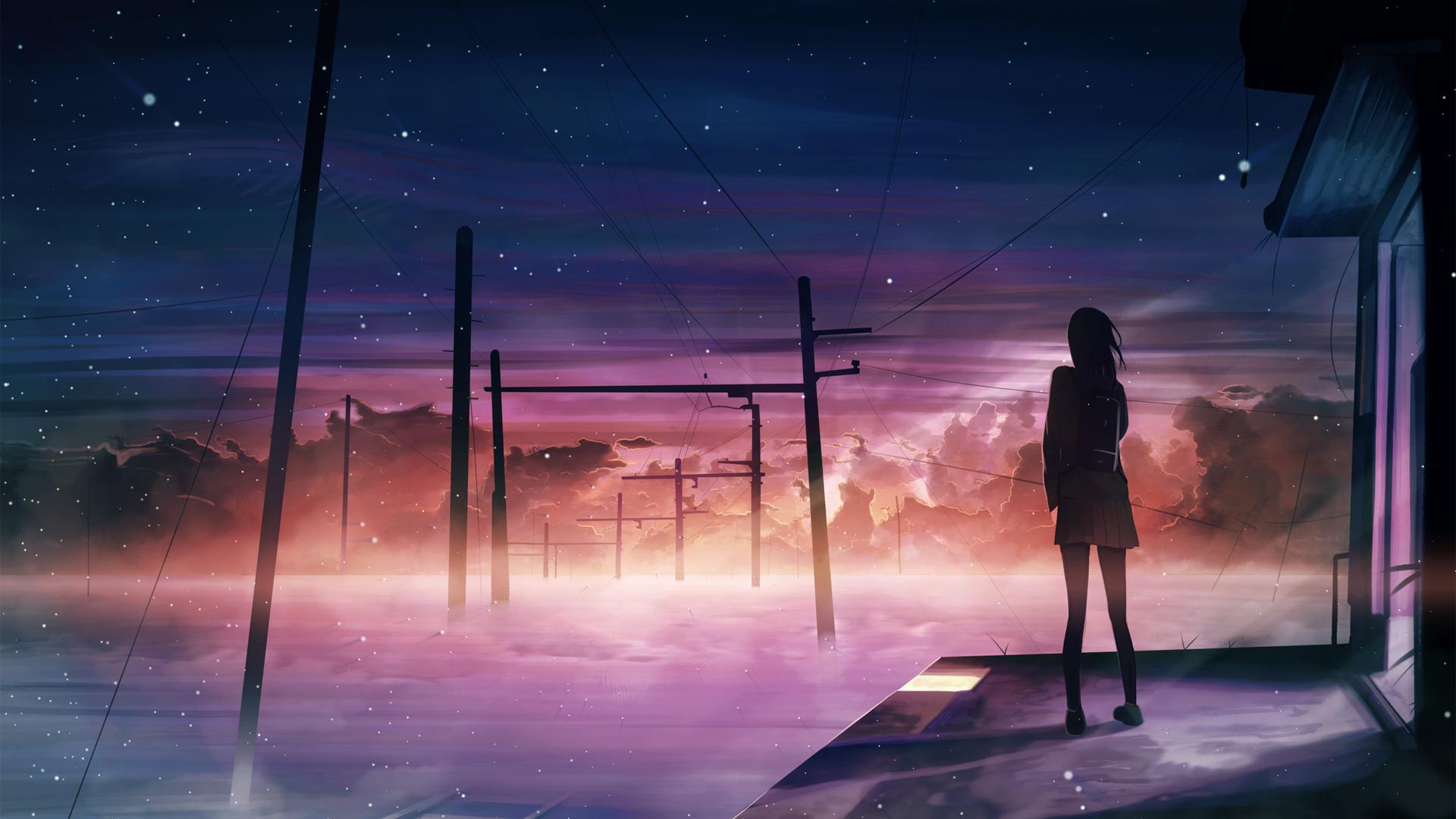 晚上 星空 女子 夕阳 异世界 唯美动漫壁纸