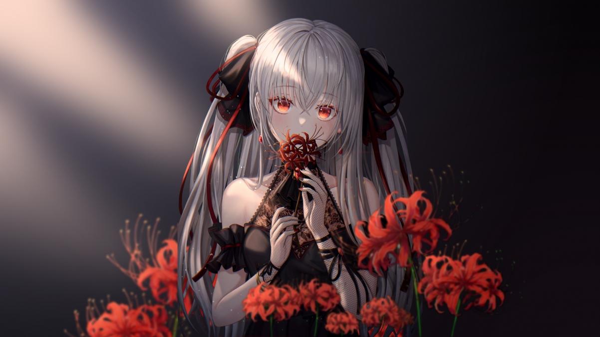 彼岸花 少女 长发 红色眼睛 4k动漫壁纸_4K动漫图片