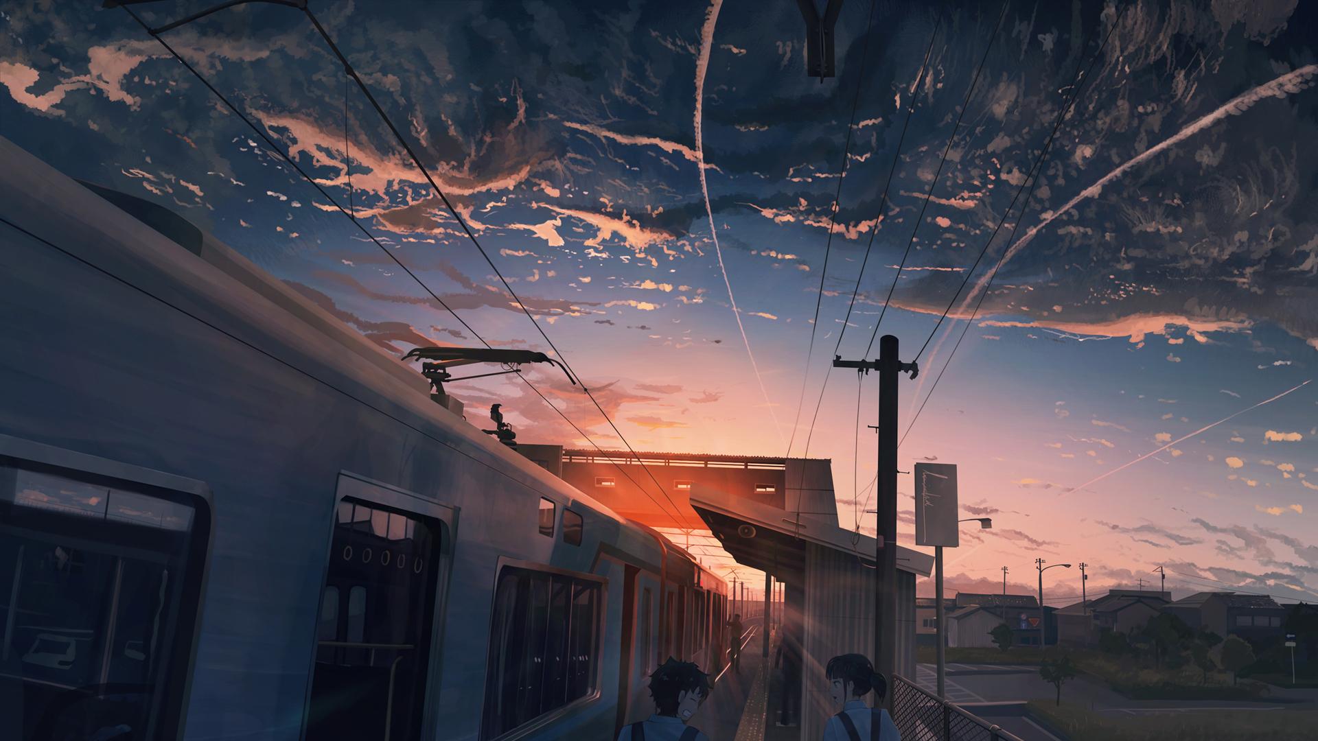 天空 夕阳 电车 女孩男孩 动漫人物风景壁纸-动漫壁纸