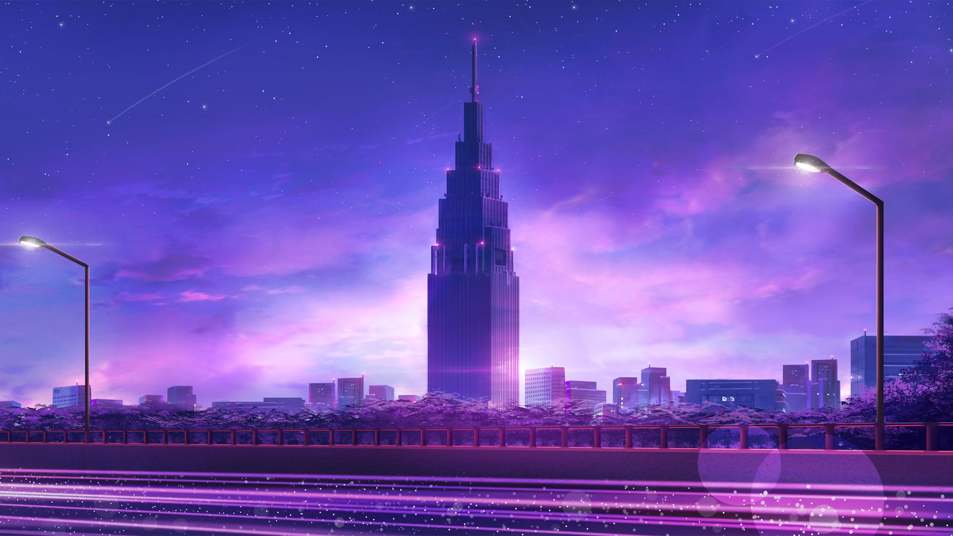 城市 高楼 夜晚 路灯 公路 天空 星星 流星 动漫壁纸-动漫壁纸