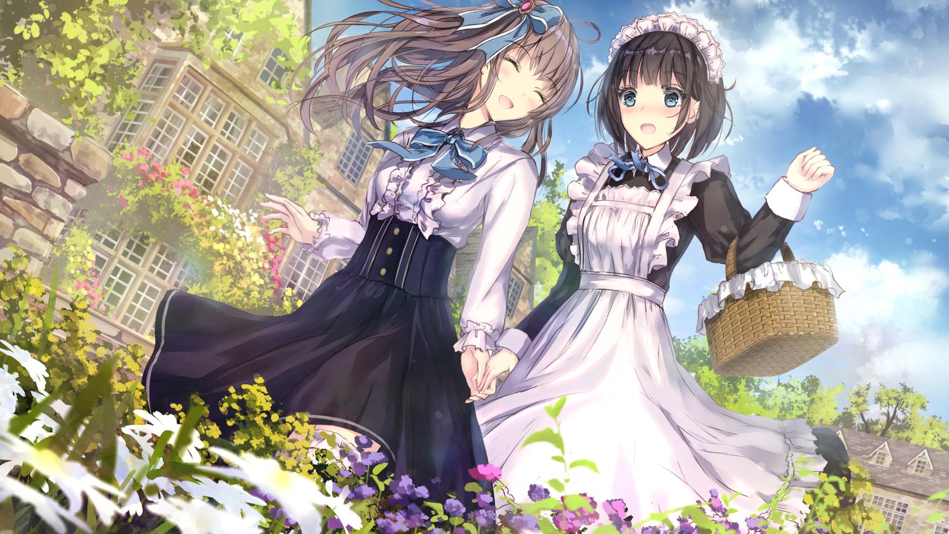 两女孩子 散歩 连衫围裙 动漫壁纸-动漫壁纸