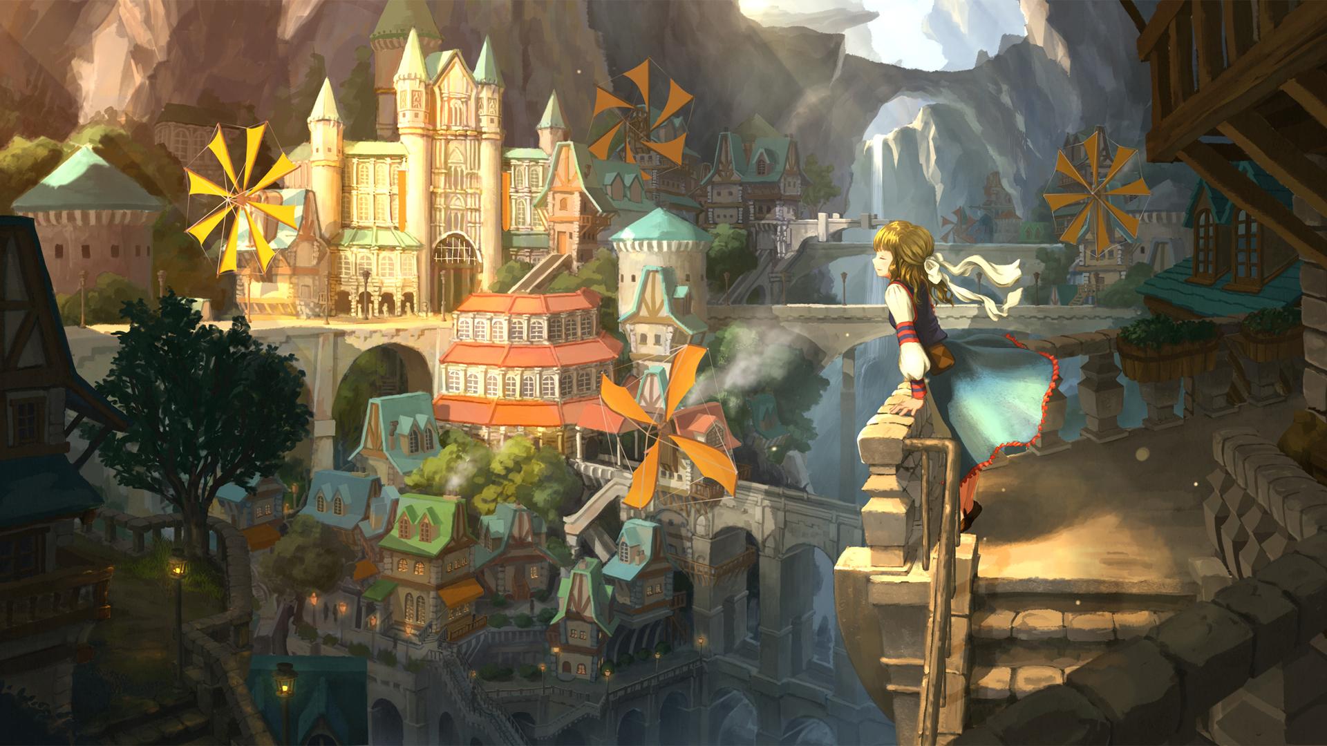 峡谷都市 奇幻风景 城堡 女孩 动漫风景壁纸-动漫壁纸