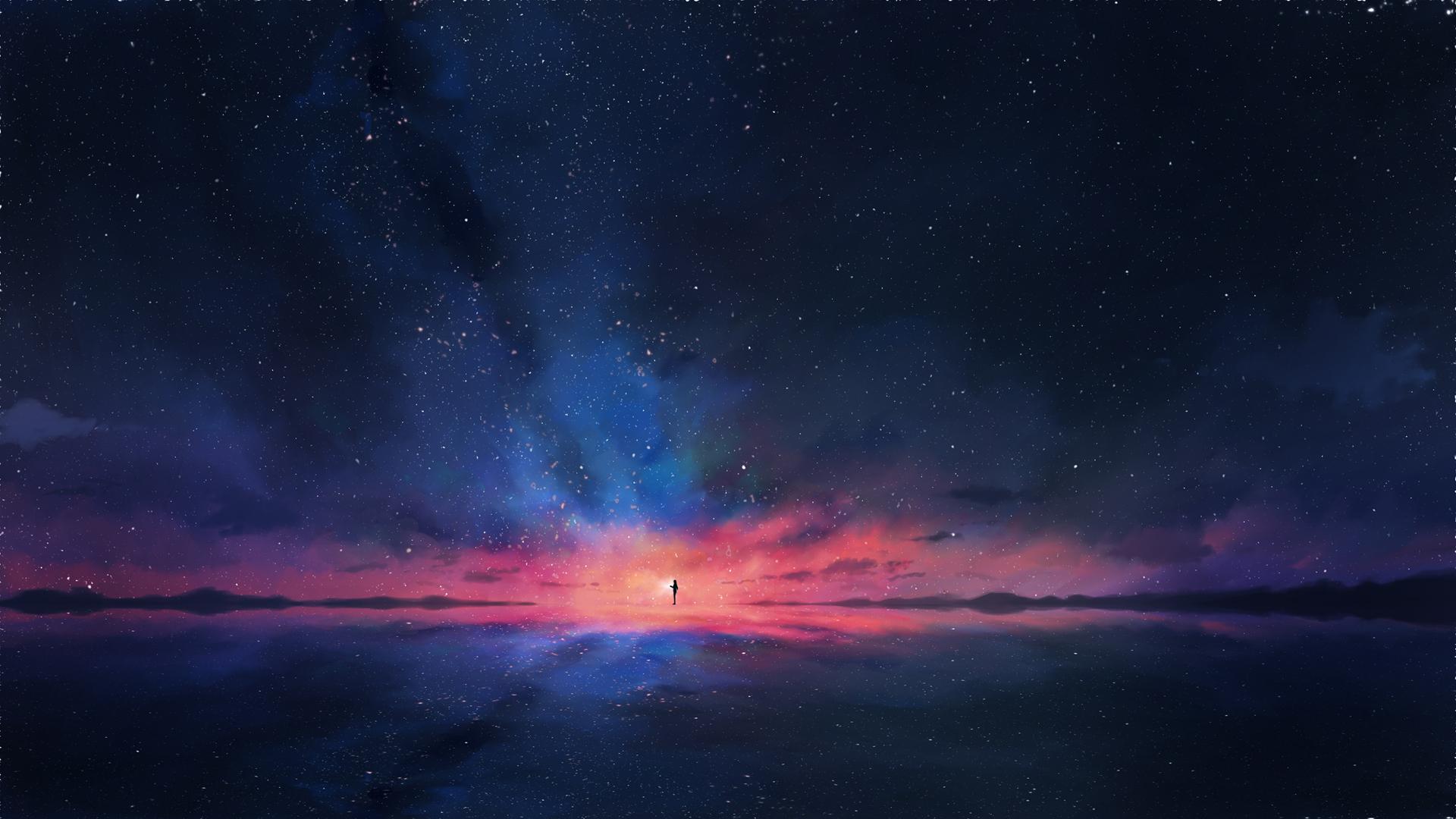 数星人 星空背景 夜空 唯美意境动漫壁纸-动漫壁纸