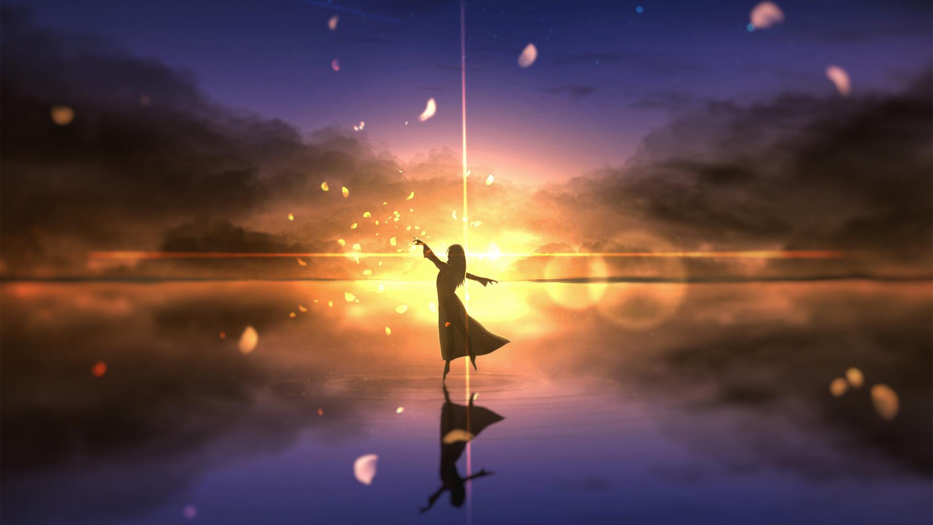 黄昏 夕阳 女孩子幻想 飞舞 天空 水面 动漫风景背景壁纸-动漫壁纸