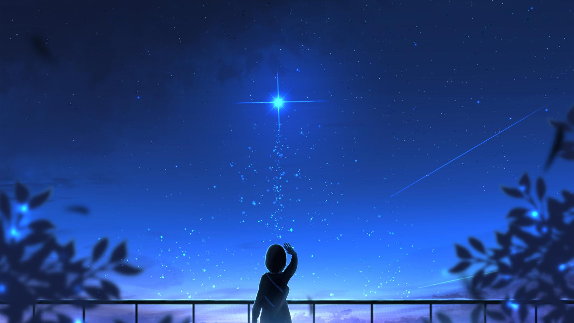 星愿 女孩子 夜空 星空 唯美动漫壁纸-动漫壁纸